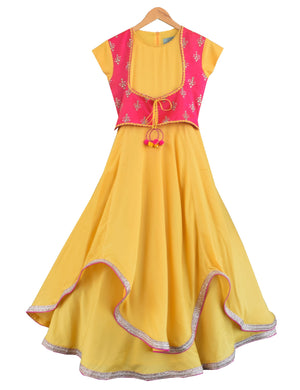 Anarkali Dress with Attached Embroidery Jacket in Yellow Colour for Girls