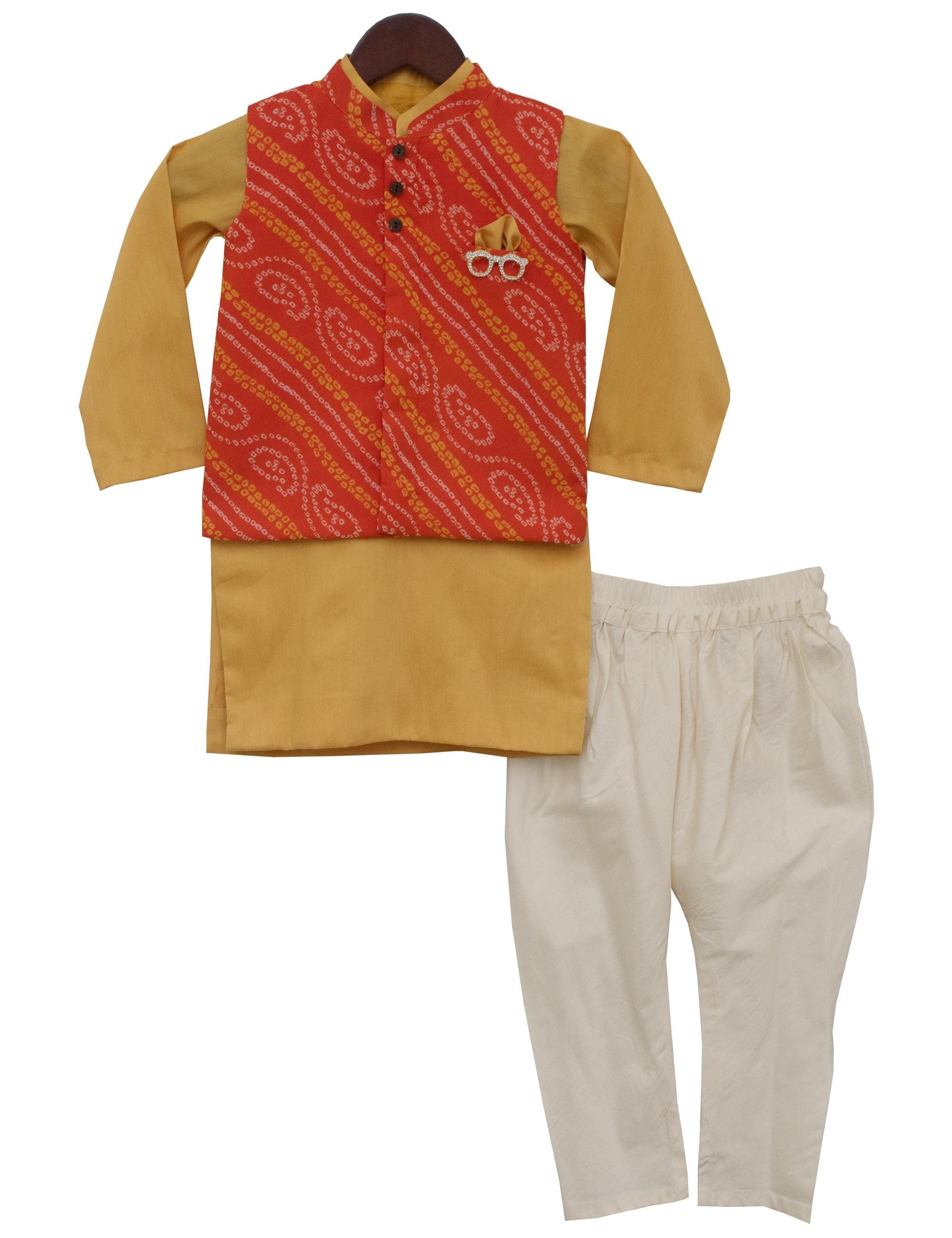 Mustard Yellow Kurti with Orange Bandhej Nehru Jacket Set for boys