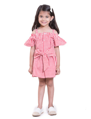 Red and White checks front Tie up Sleeveless Dress