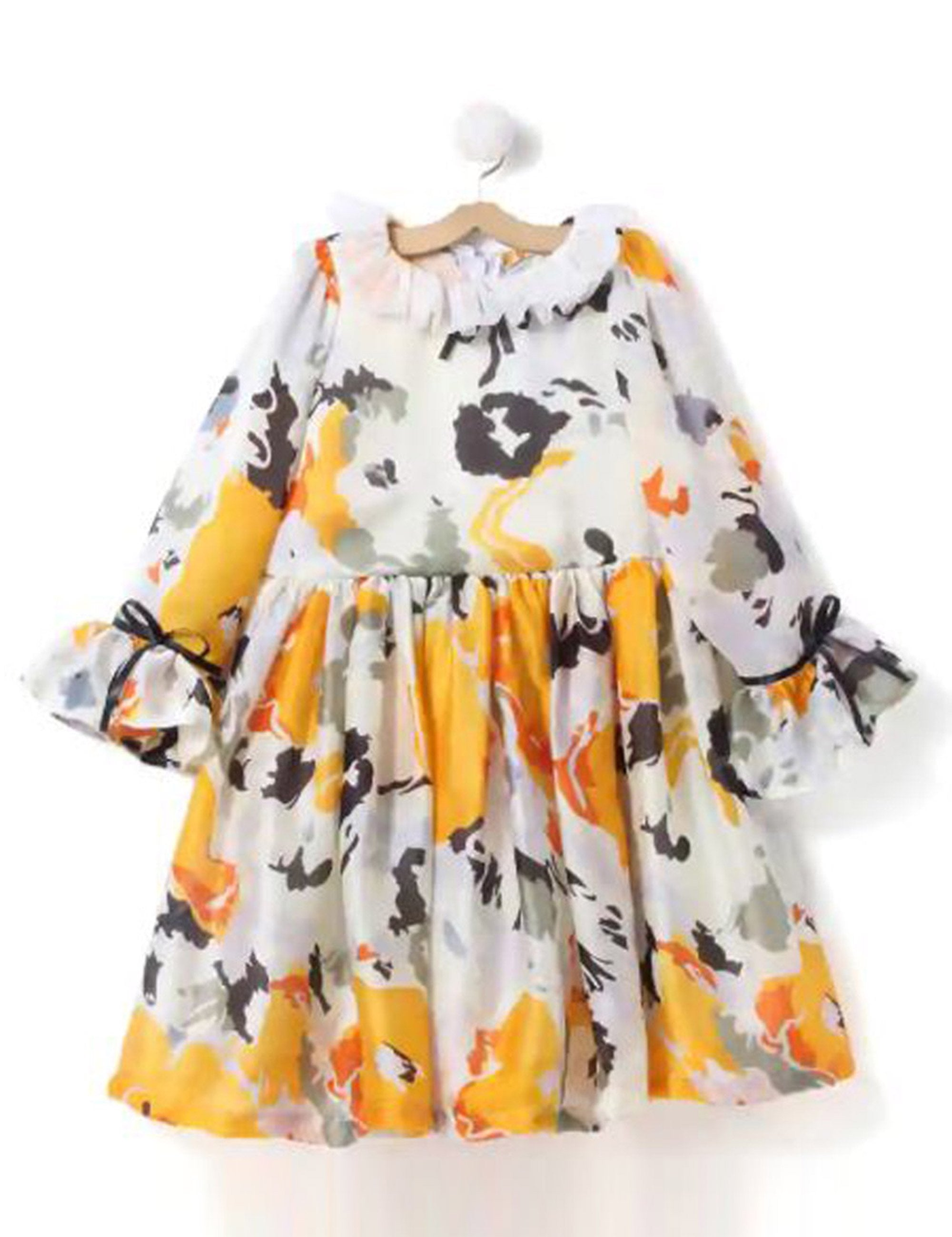 Flowers Printed Satin Silk Dress in Yellow