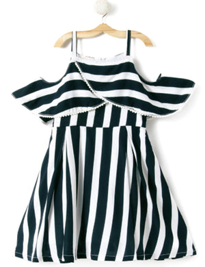Stripe Printed Cotton Dress in Black