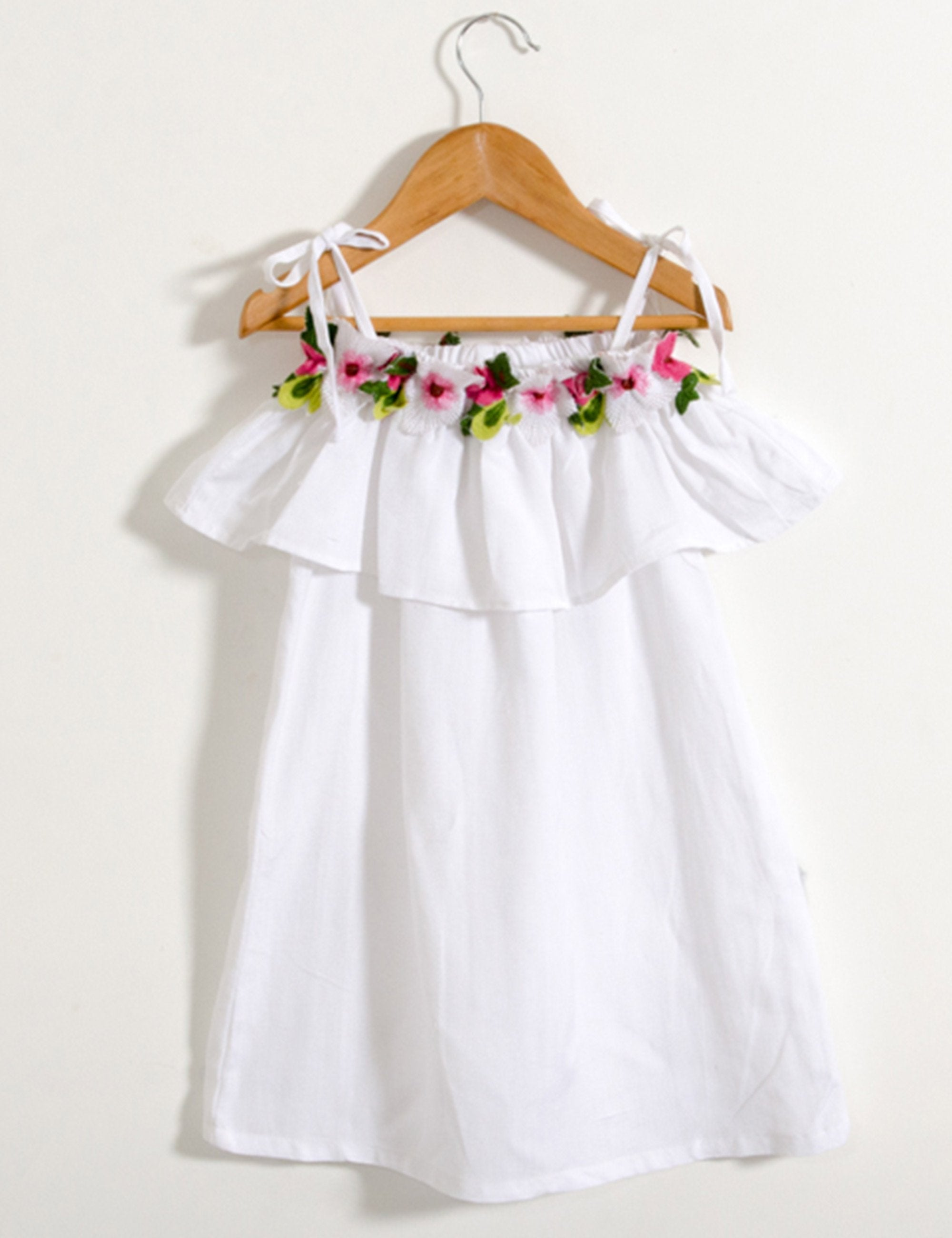 Linen Floral Off shoulder Dress