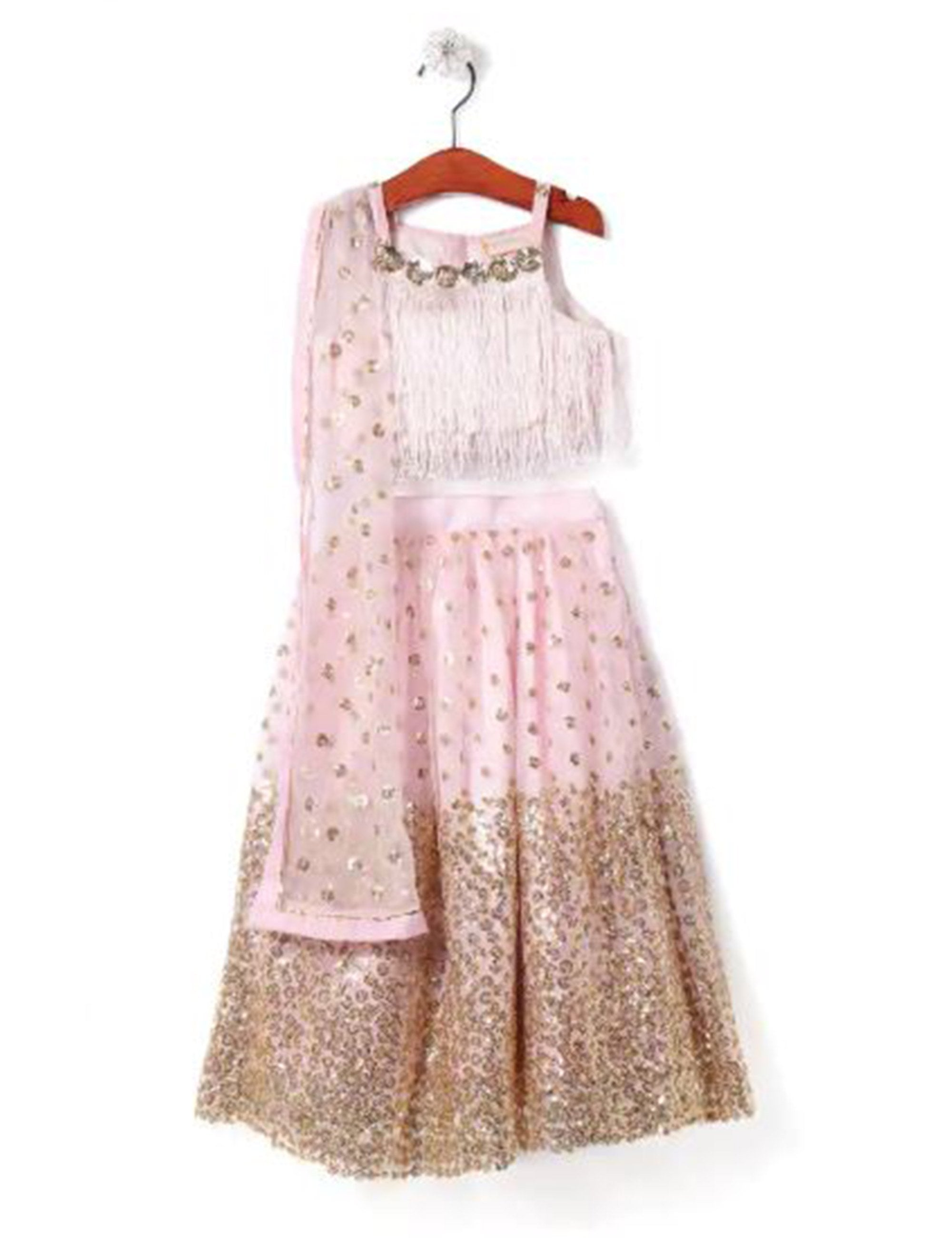Shimmery and Glitter Lehenga Blouse with Dupatta Set - Pink