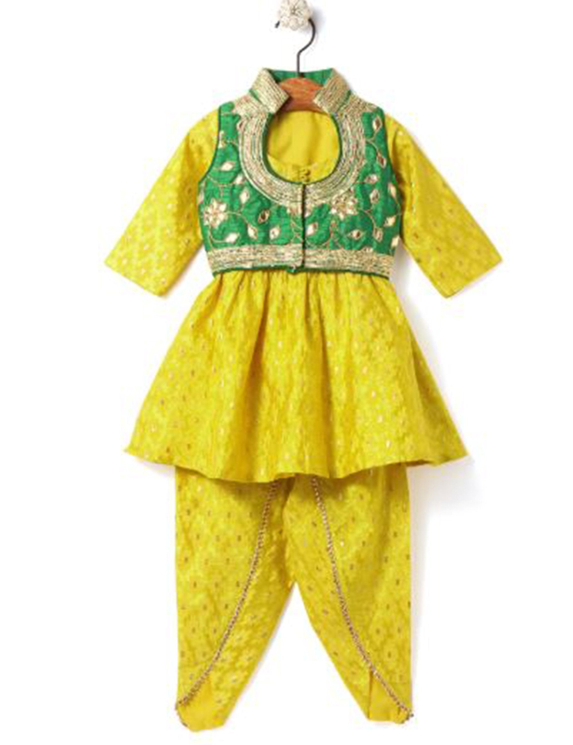 Dhoti- Kurta Set with Jacket - Yellow