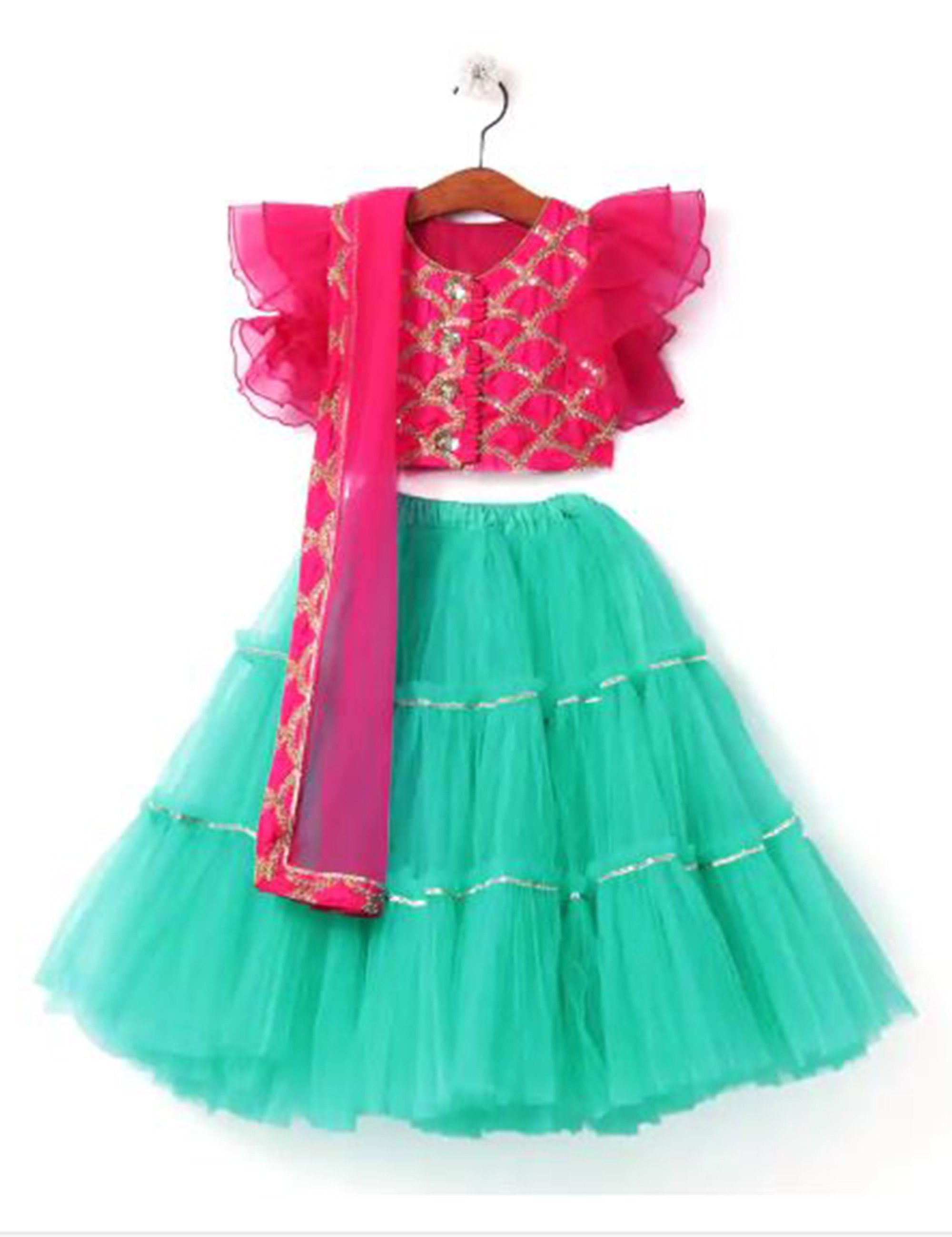 Turquoise Net Lehenga with Pink Frill Blouse and Dupatta Set