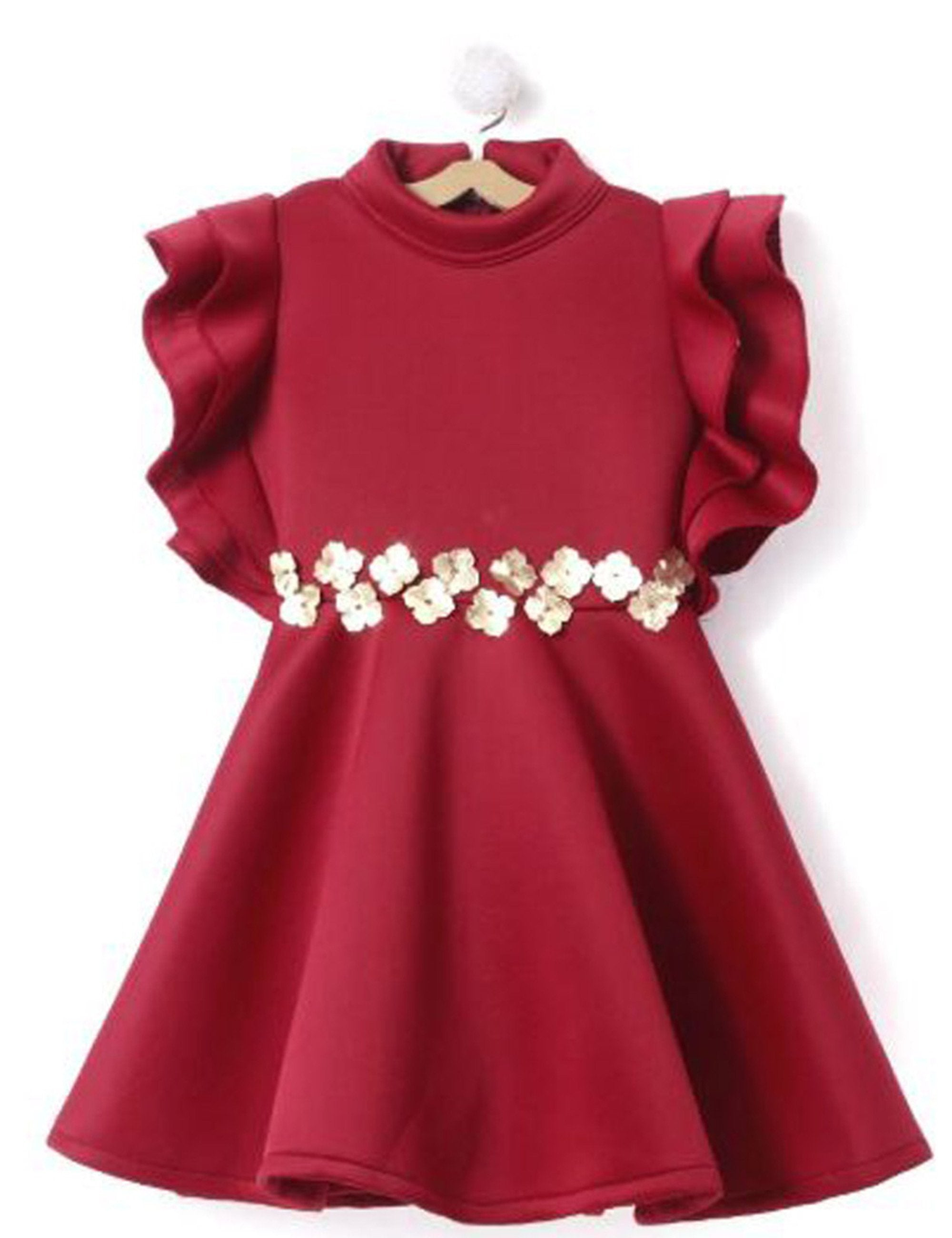 Stylish Wings Sleeves Dress in Maroon