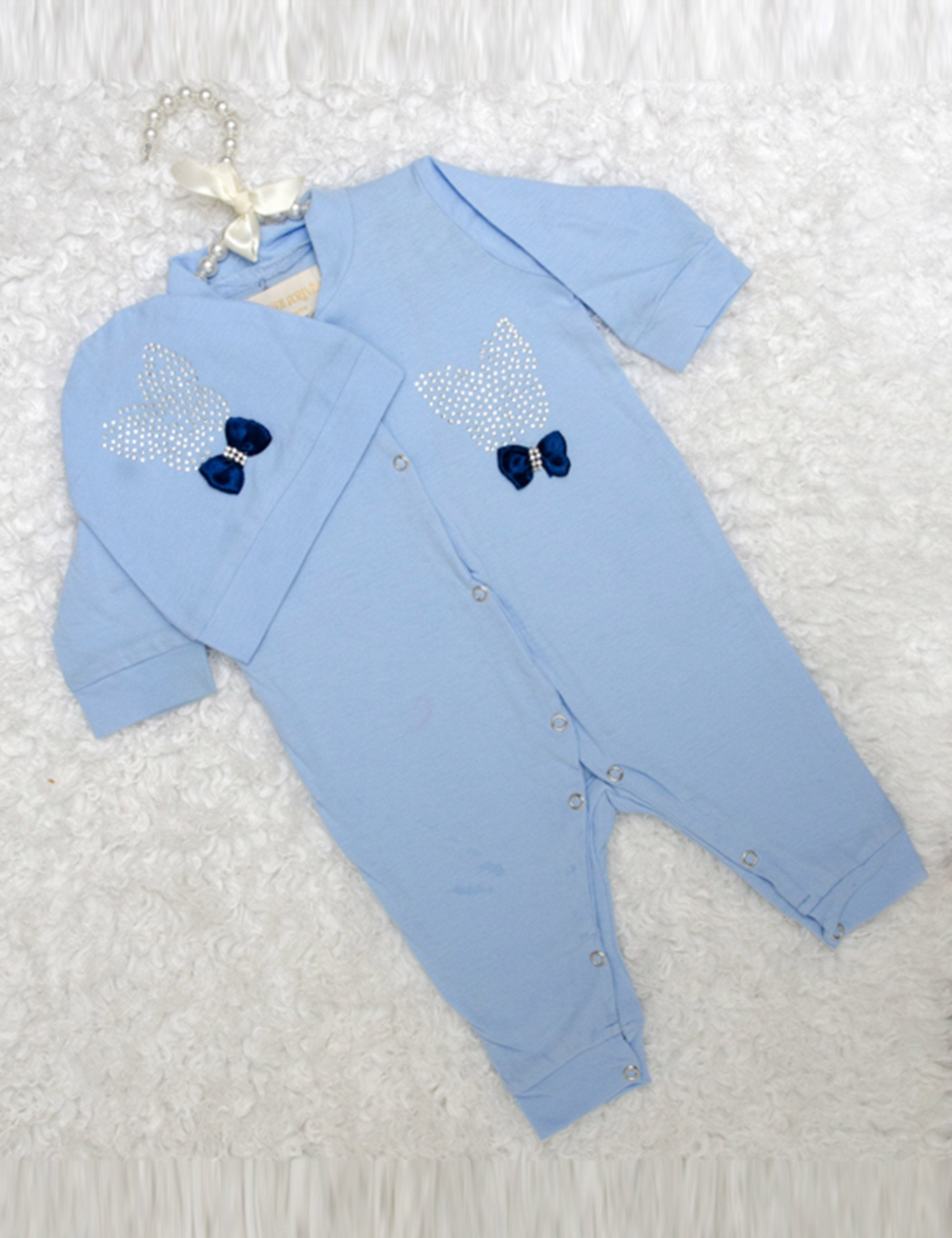 Blue Sequin Embroidered with Satin Bow Onesie for Girls