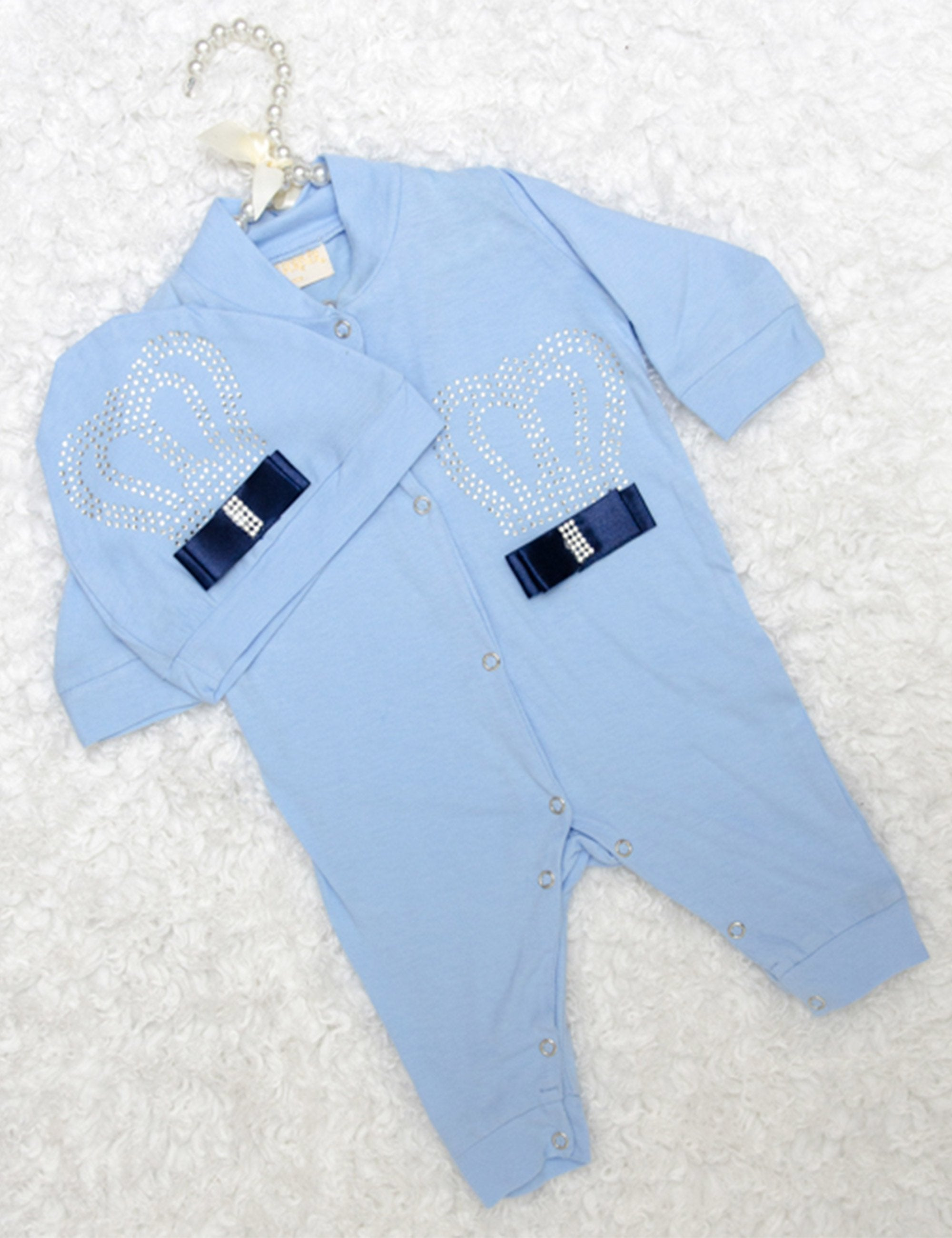 Blue King Sequin Embroidered Onesie with Satin Bow for Girls
