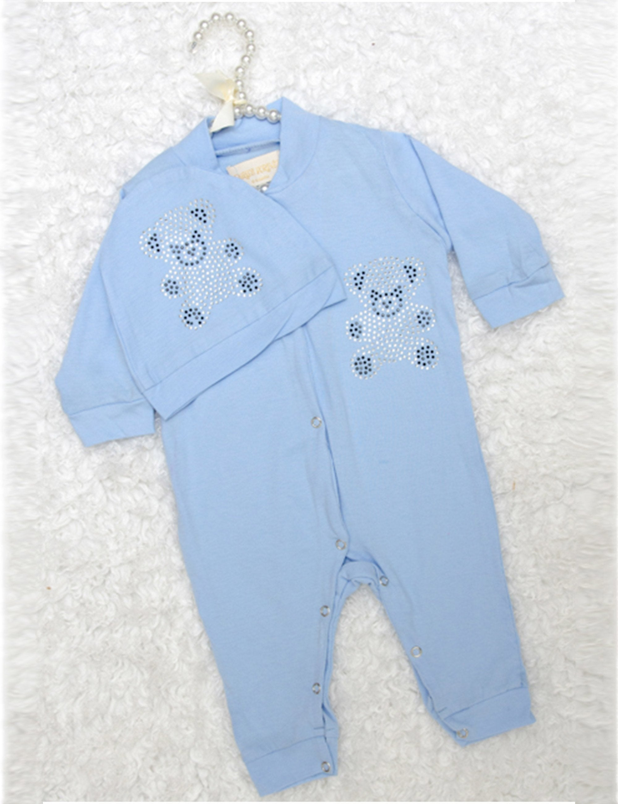 Blue Teddy Bear Sequined Onesie for Girls