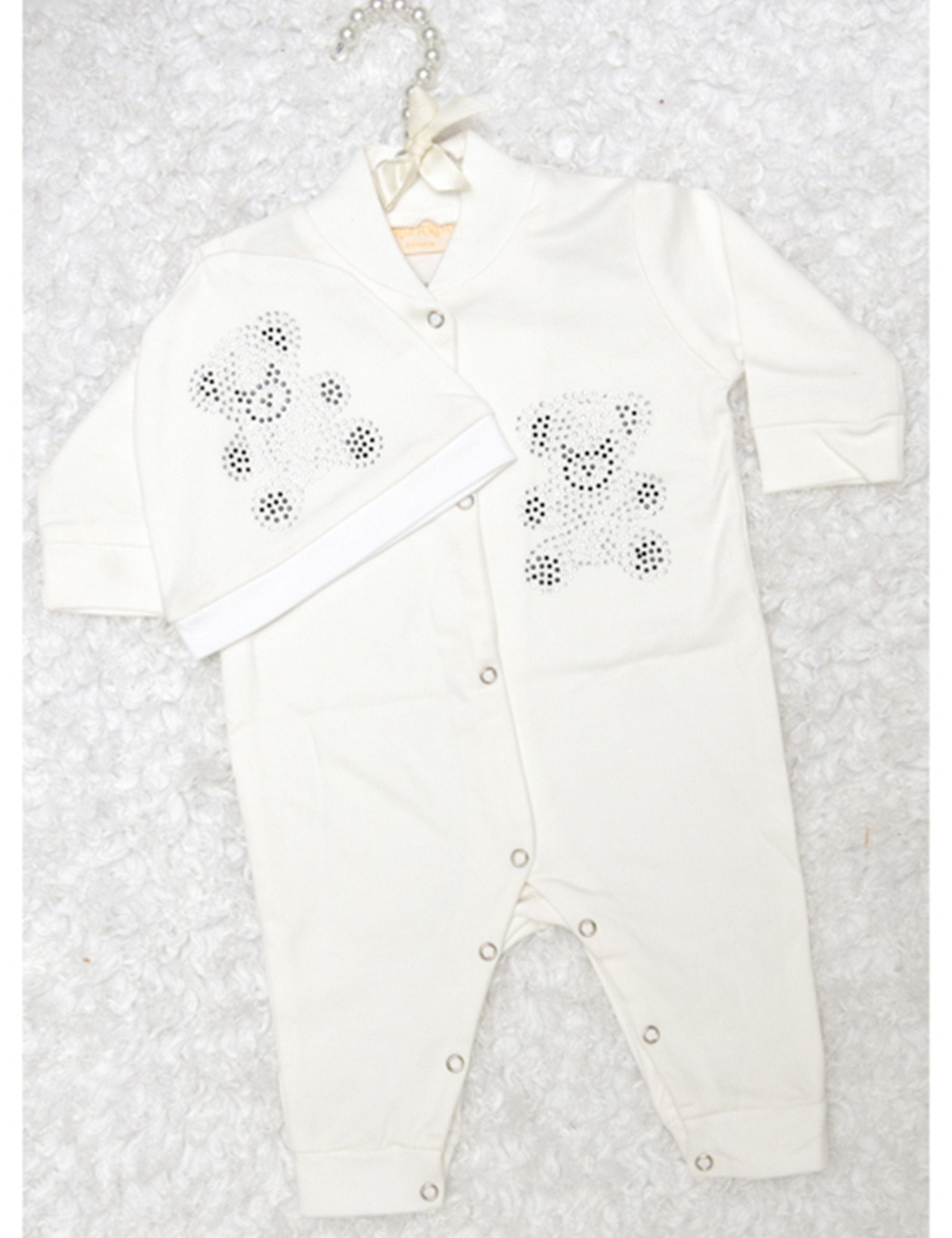 White Teddy Bear Sequin Printed Onesie for Girls