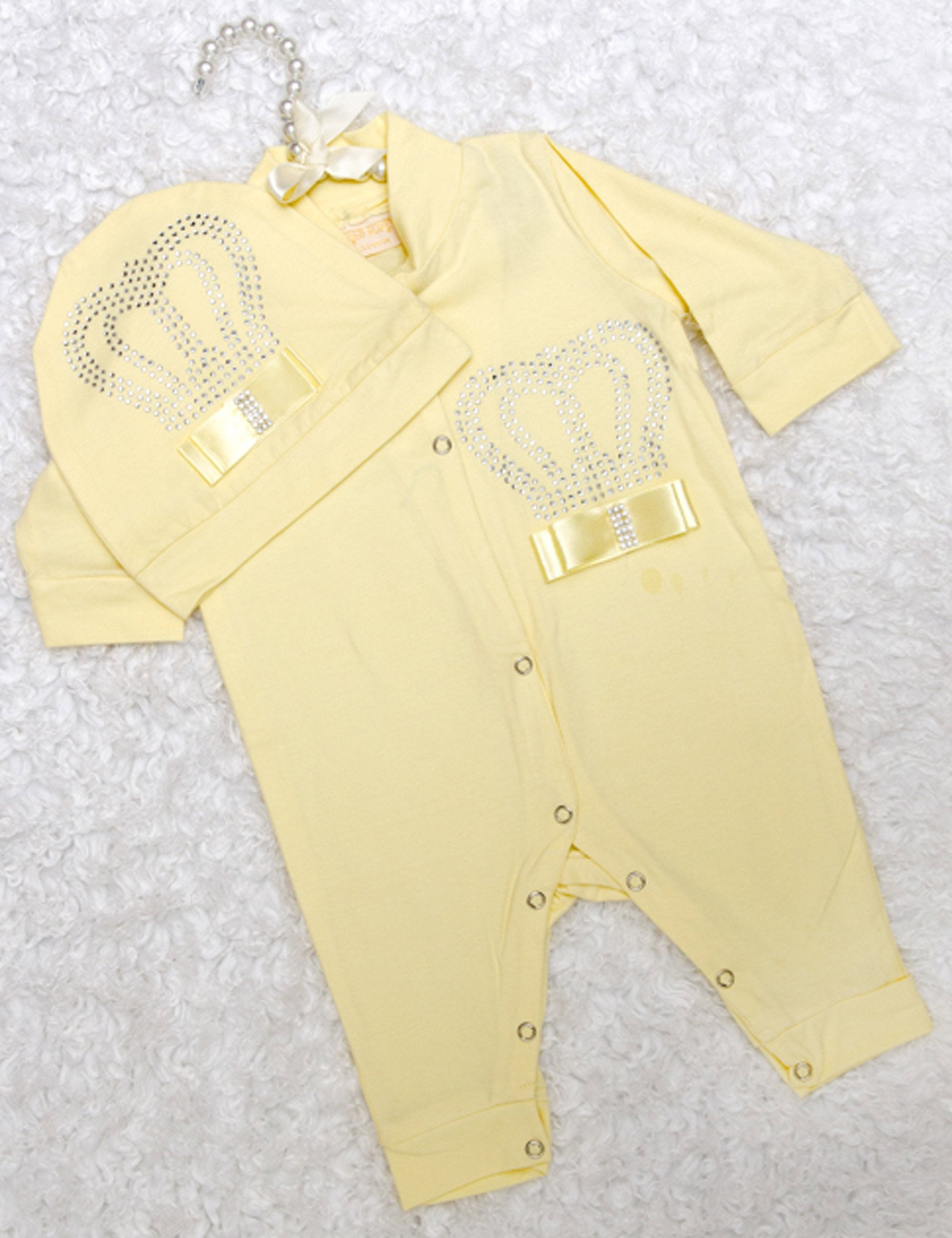 Yellow Crown Sequin Embroidered with Satin Bow Onesie for Girls