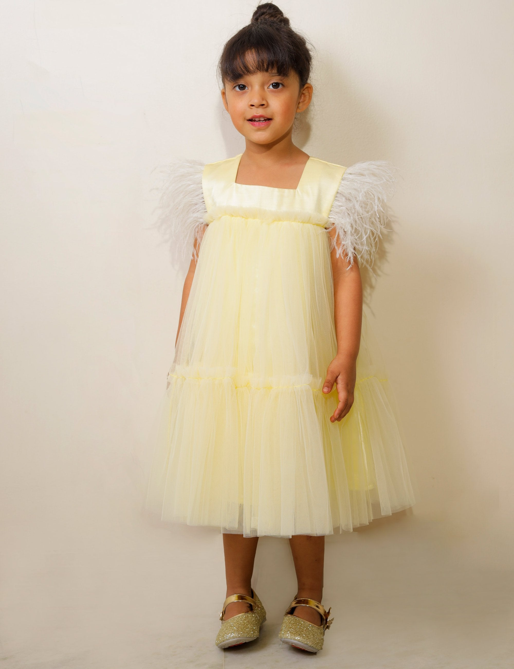 Lemon Yellow Dress with Ruffle and Feathers