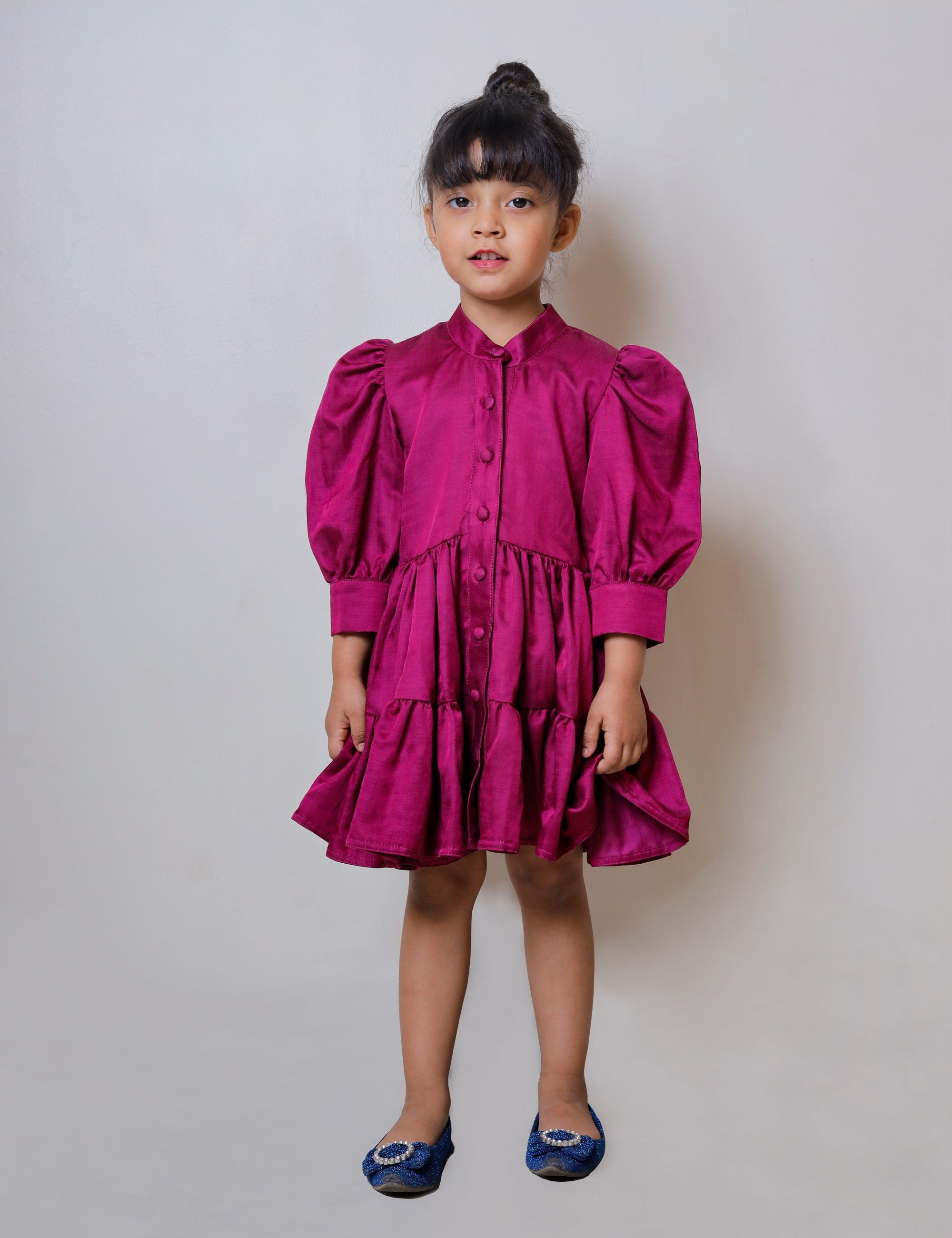 Magenta Dress with Chinese Collar