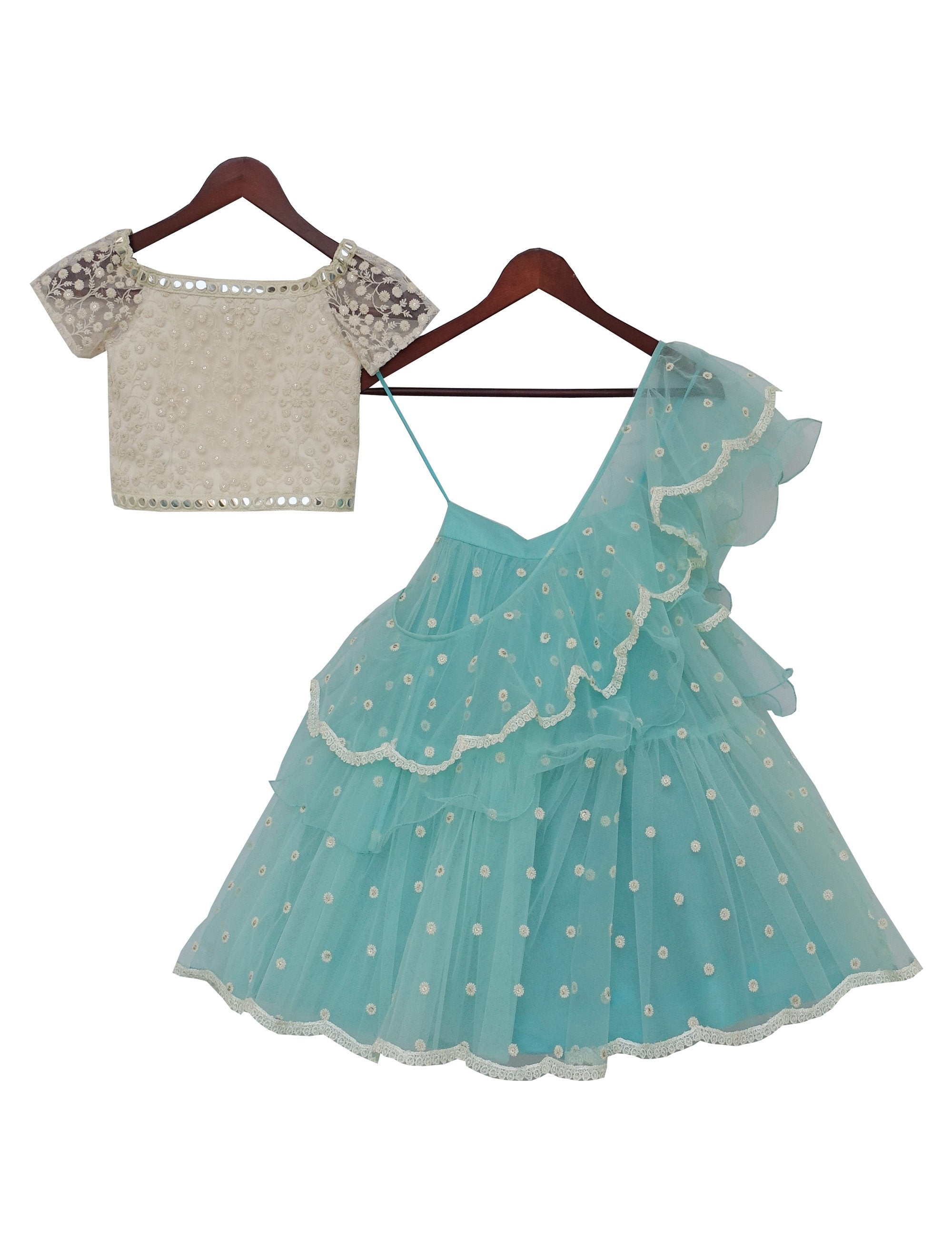Offwhite Embroidery Choli with Aqua Net Lehenga for girls