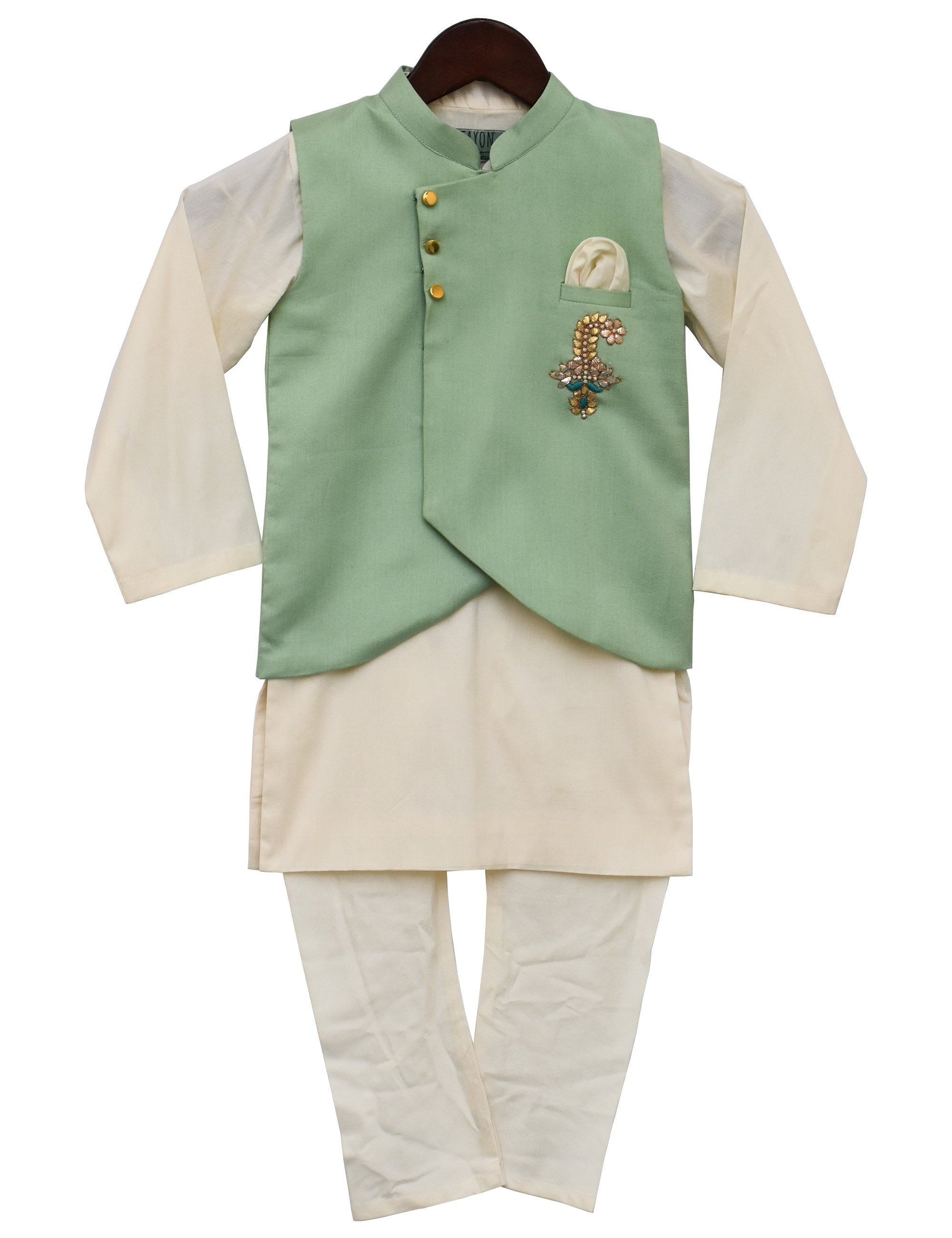 Offwhite Kurti with Green Nehru Jacket Set for Boys