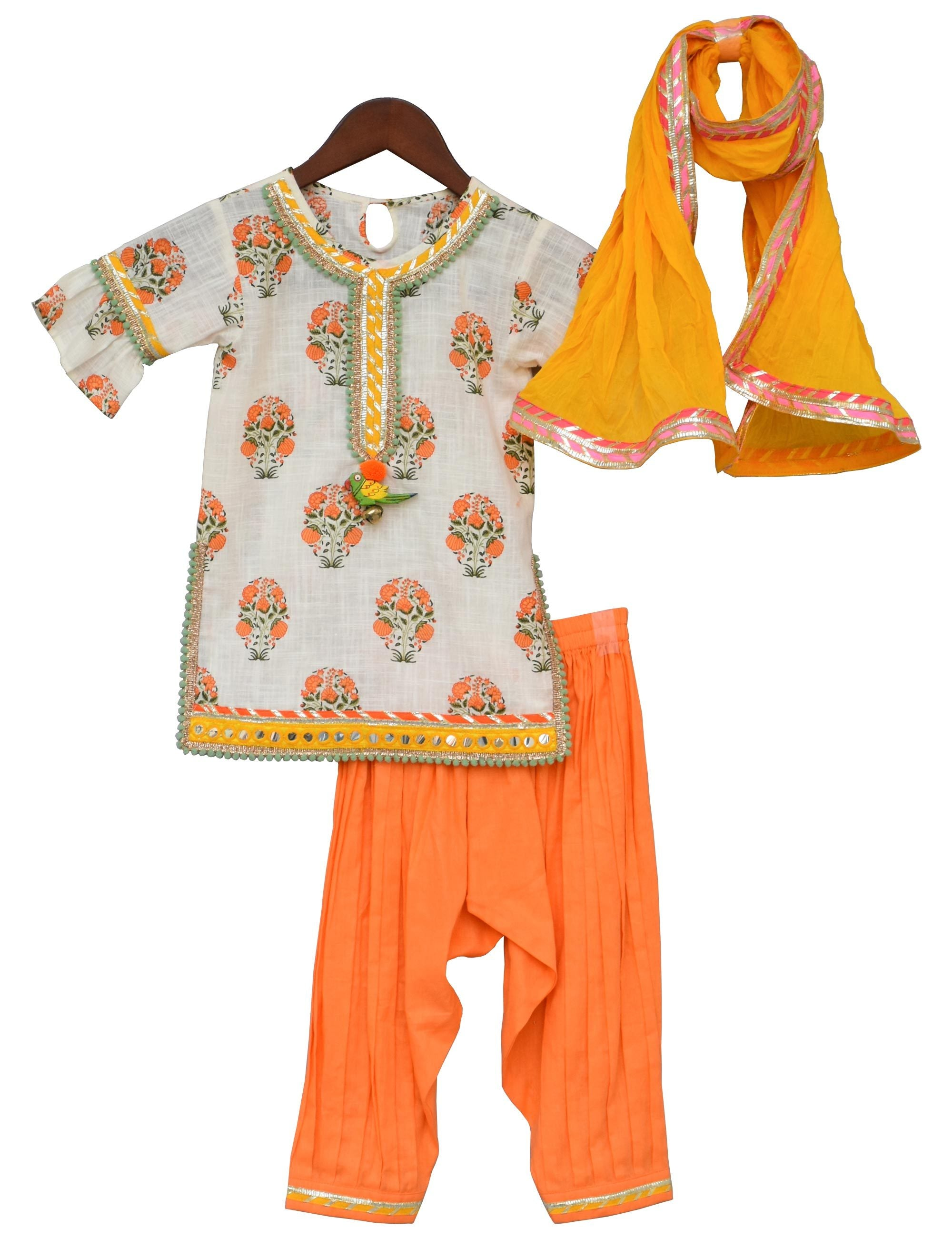 Off-white Printed Kurti with Orange Salwar