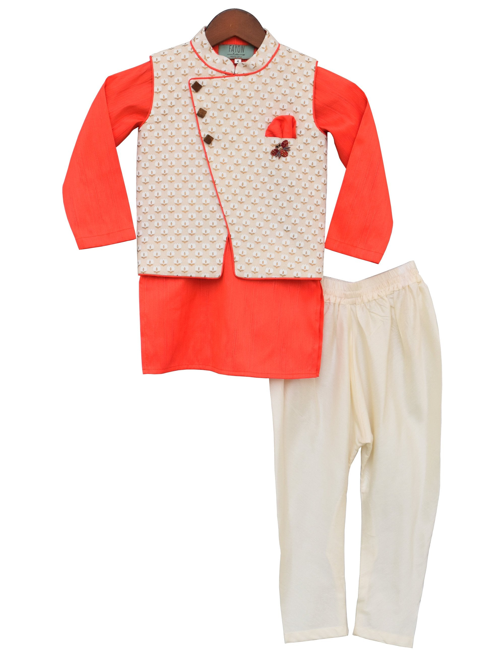 Off-white Printed Nehru Jacket with Kurta & Churidar