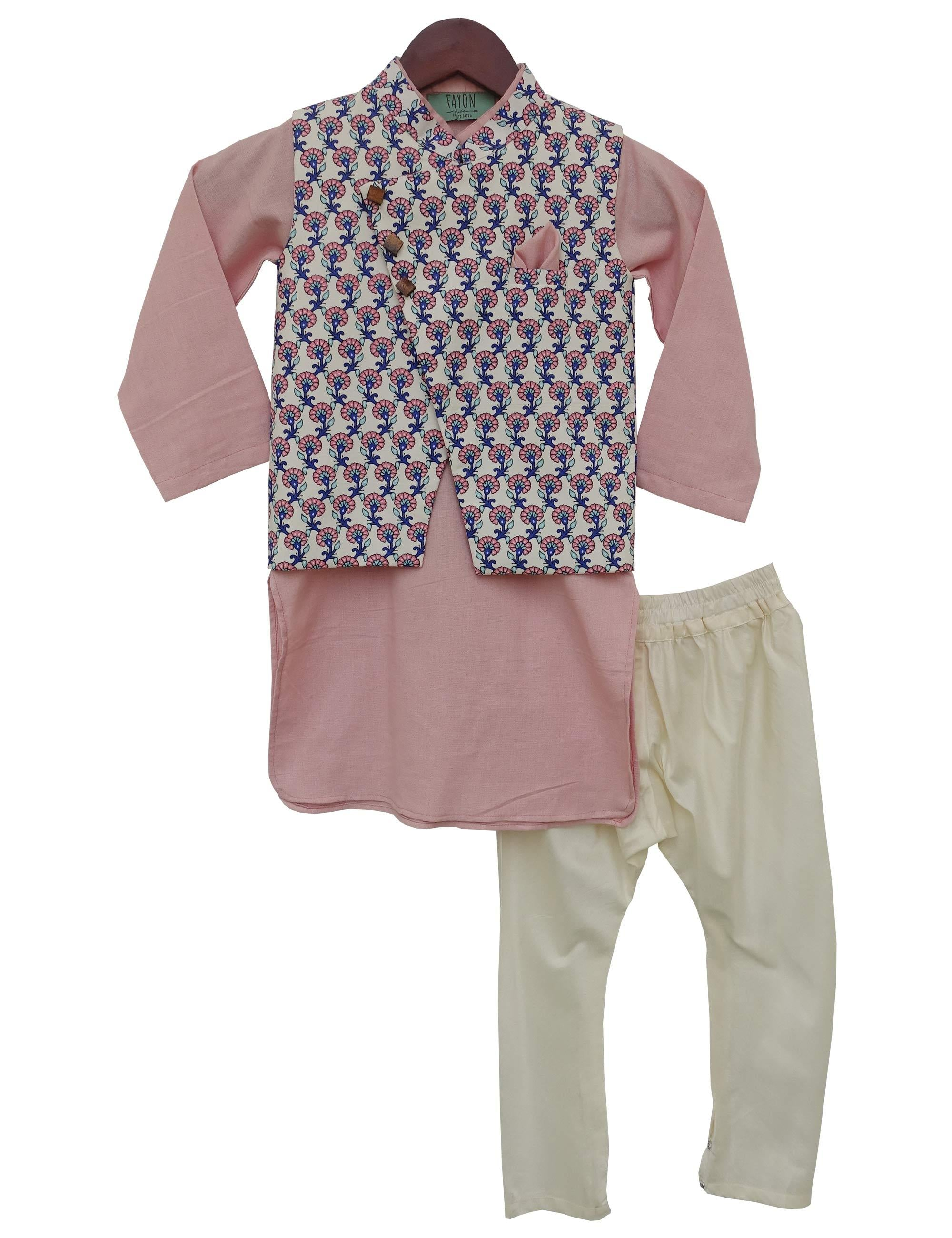 Onine Pink Kurta with Printed Nehru Jacket Set for boys