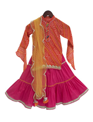 Bandhej Kurti with Sharara in Pink & Orange Colour for Girls