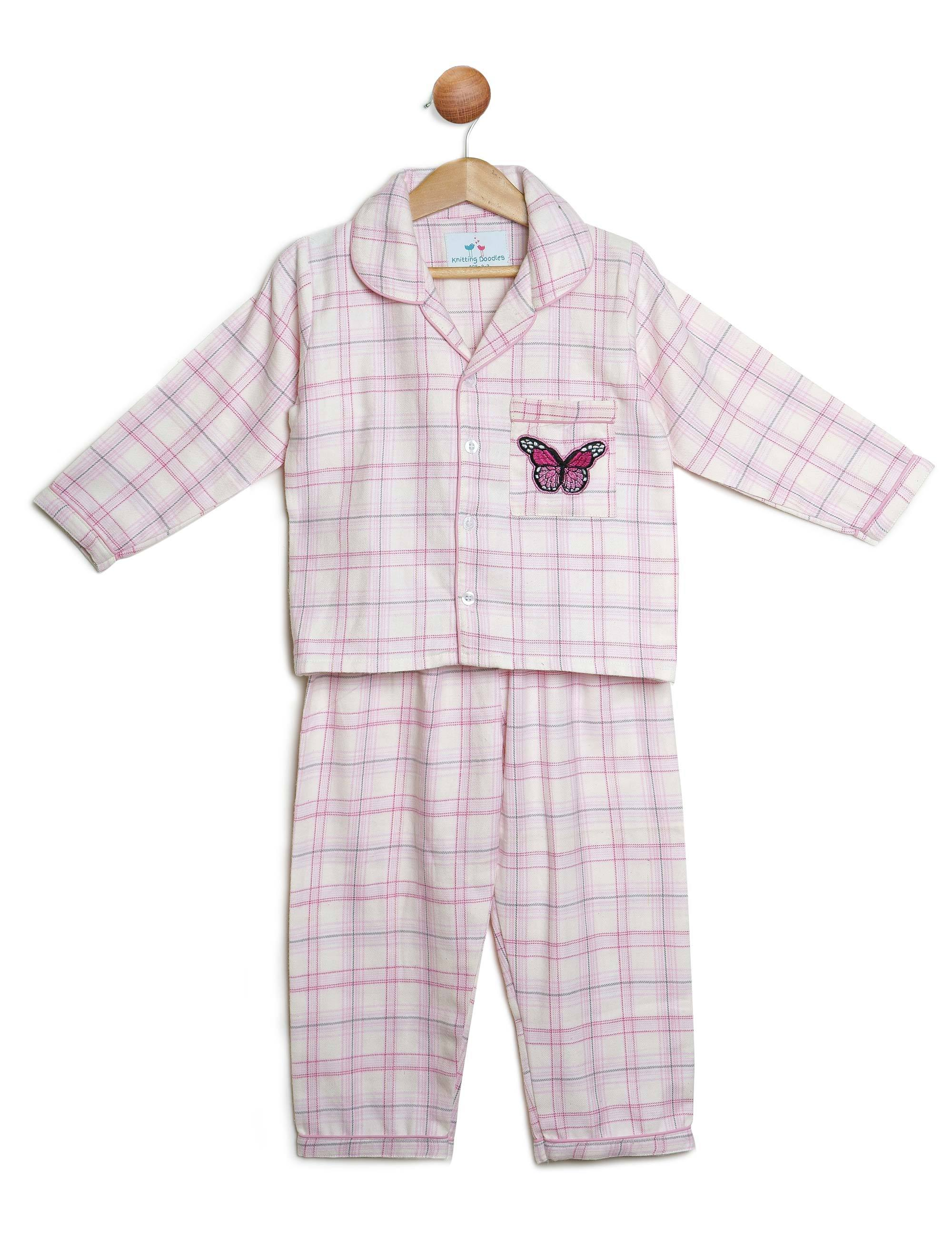 Pink and White Checks Night Suit with Butterfly Patch for Girls