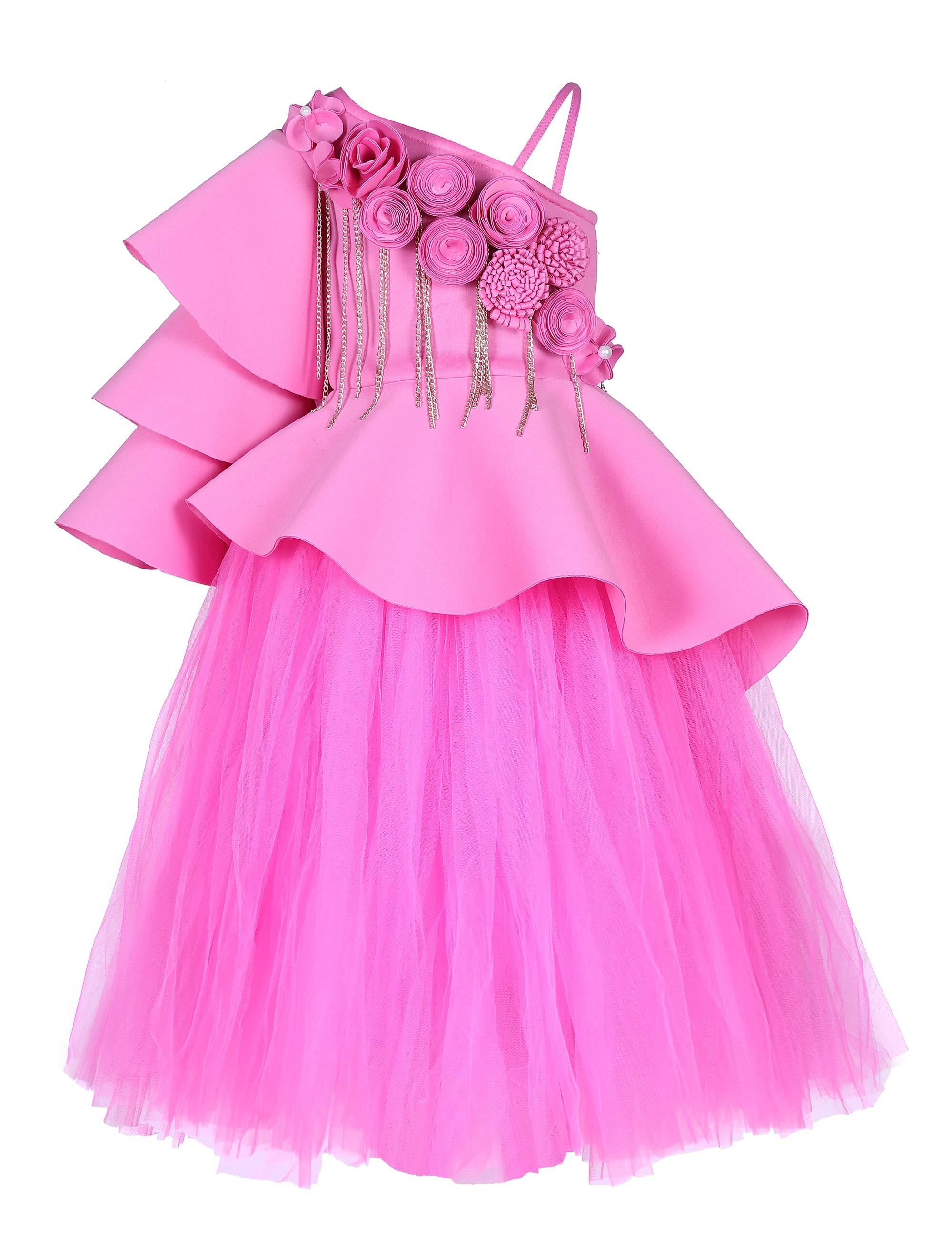 Pink Triple Layered Corset and Tutu Skirt Gown for Girls