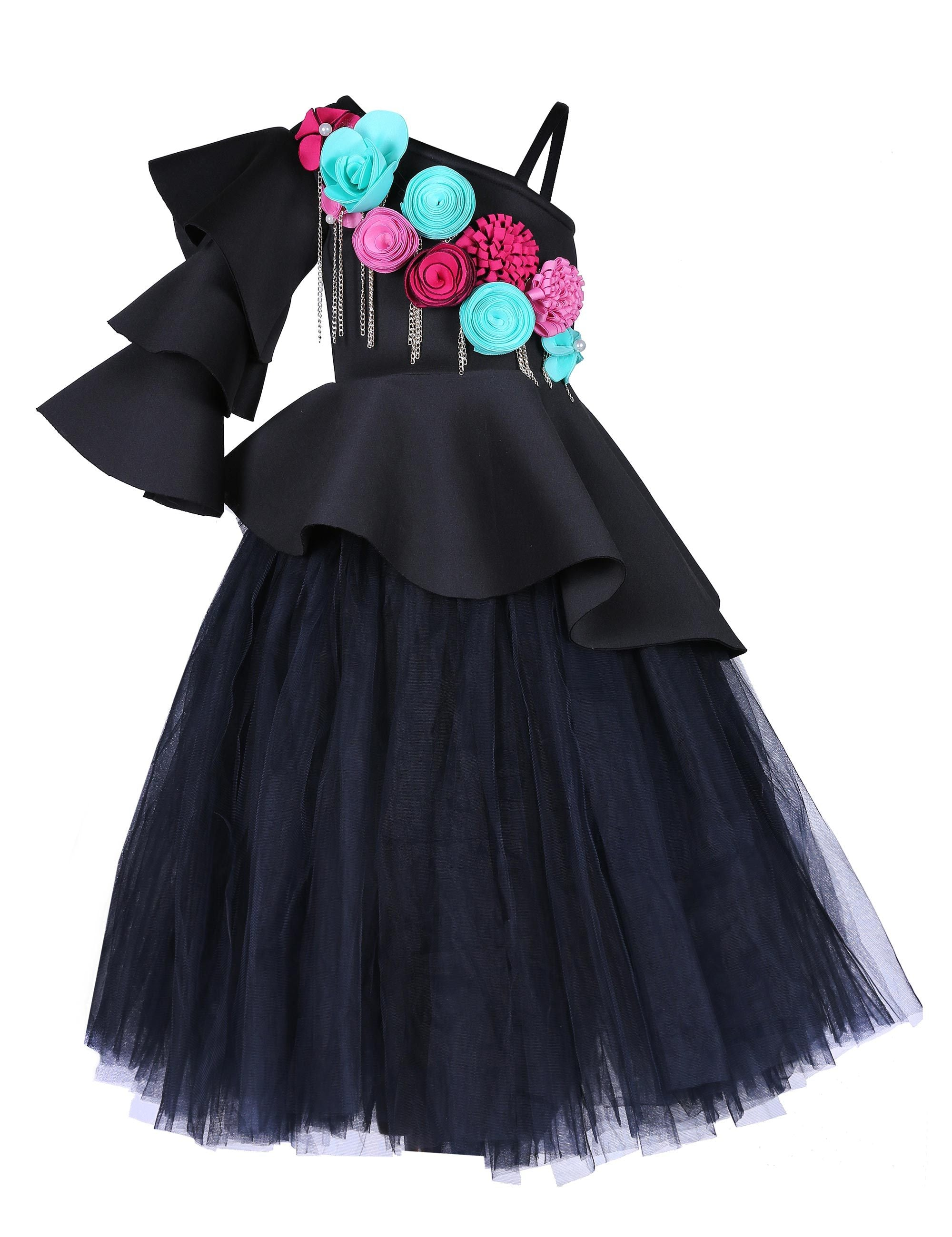 Black Triple Layered Corset and Tutu Skirt Gown for Girls