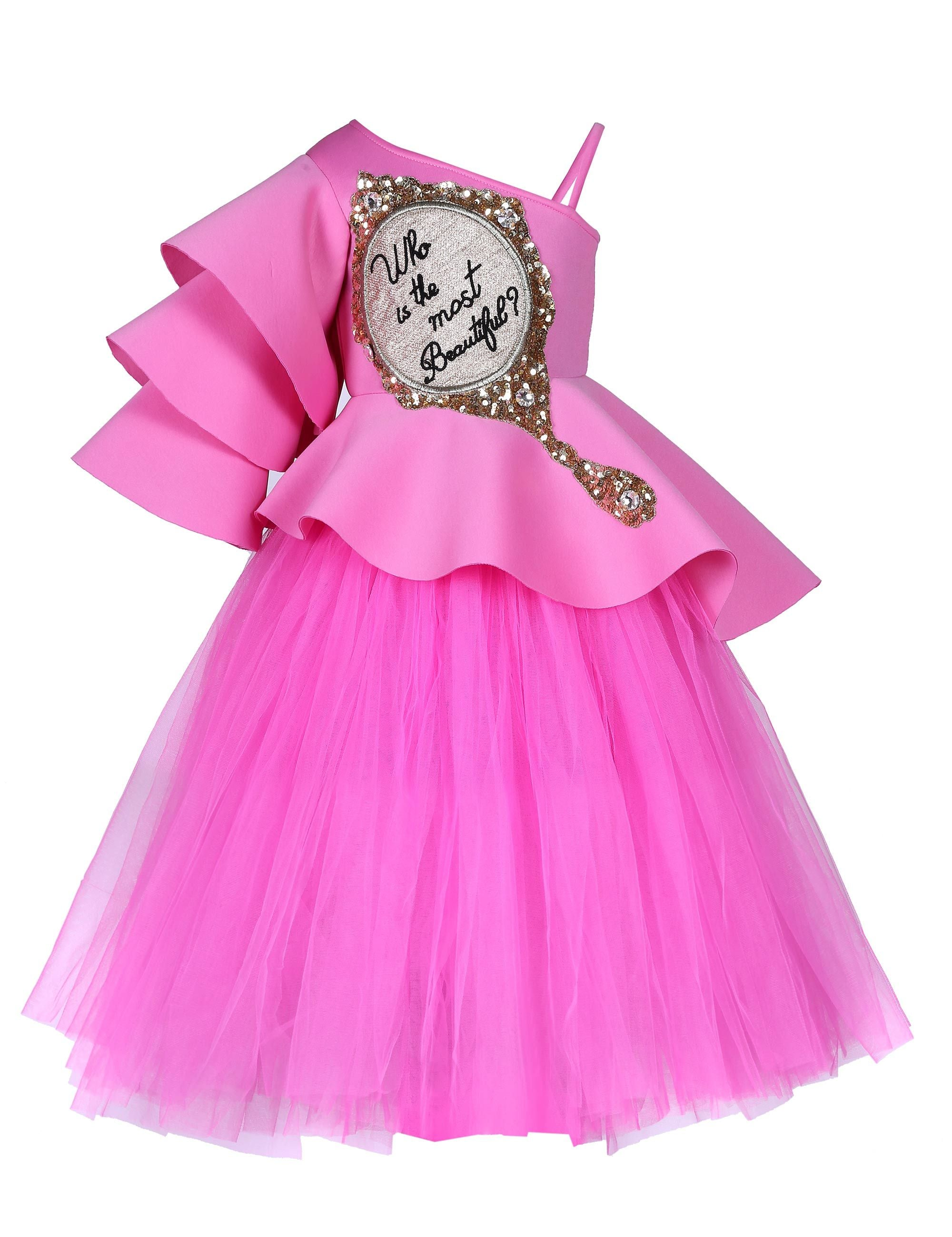 Pink Triple Layered Mirror Corset and Tutu Skirt Gown for Girls