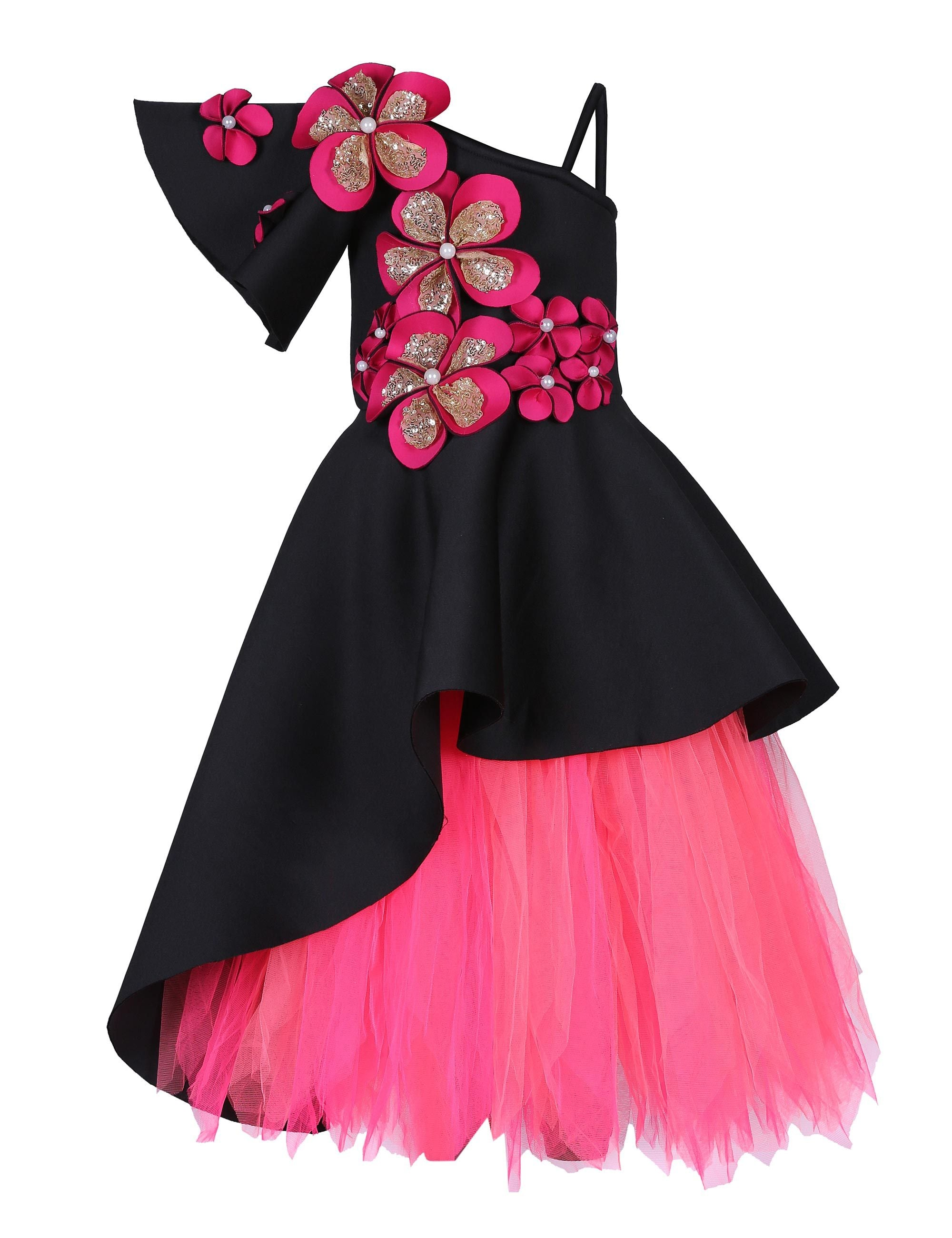 Black Triple Layered Corset with Pink Tutu Skirt Gown