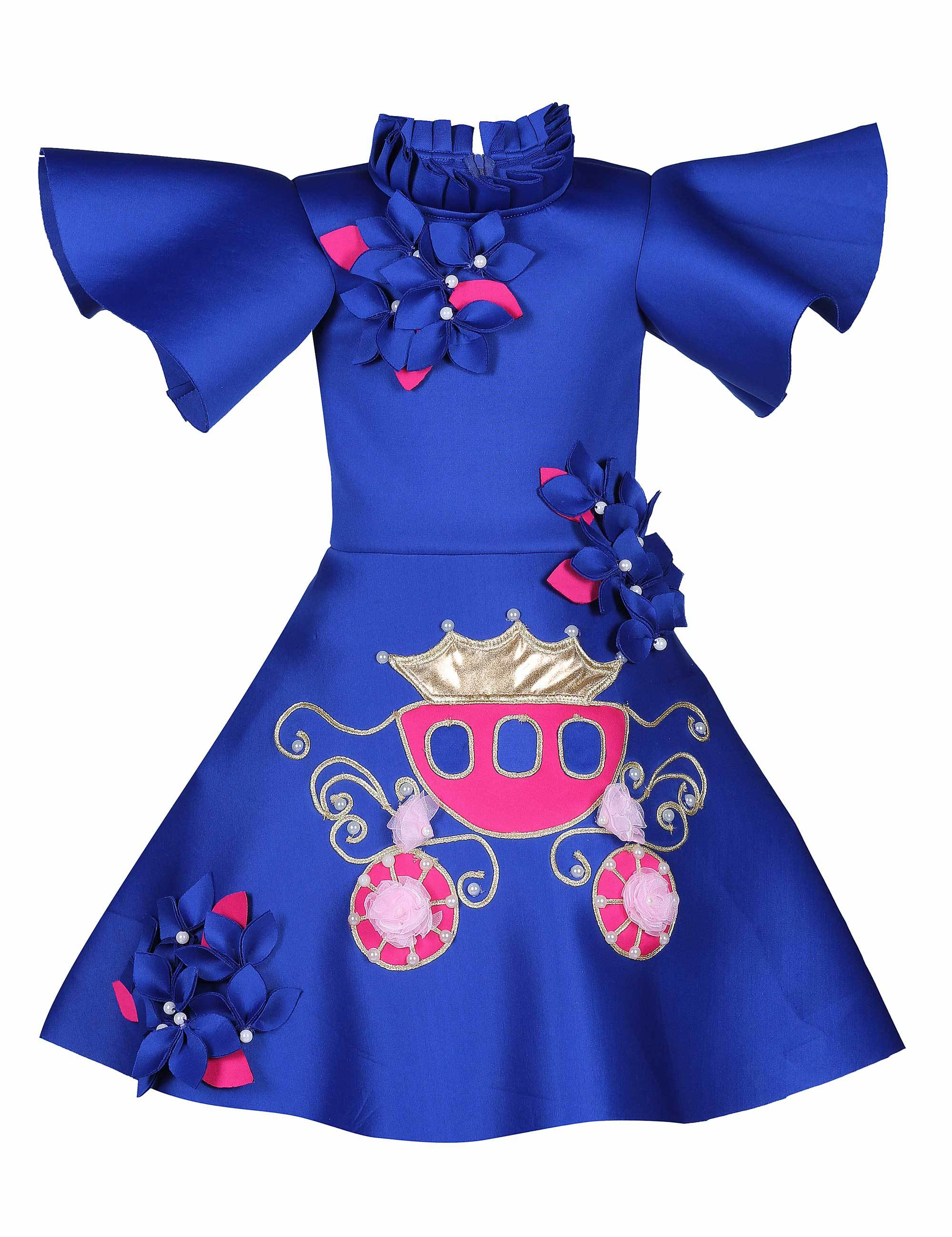 Blue Carriage Knee Length Dress for Girls