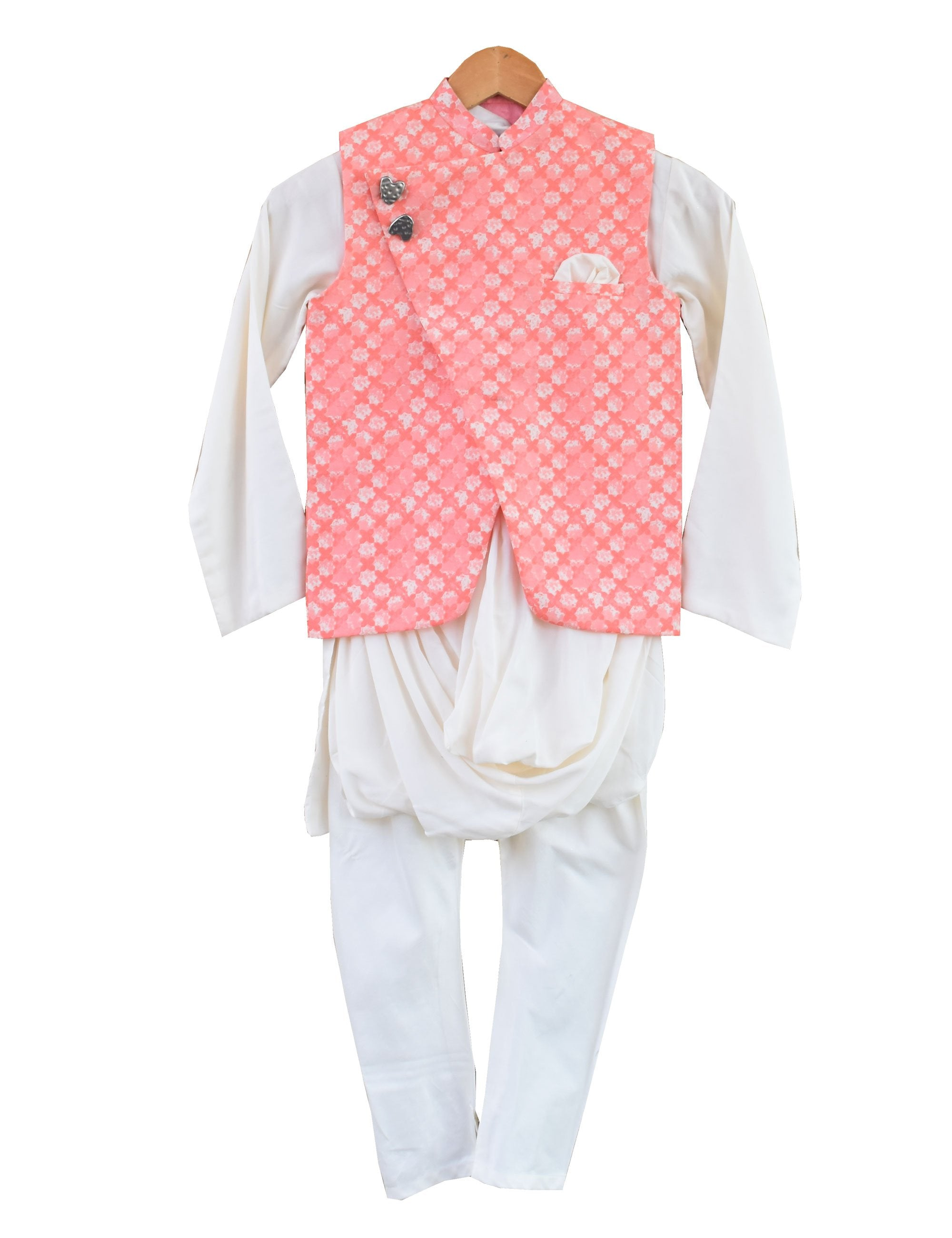 Nehru Jacket with Kurta and Churidaar in Peach Colour for Boys