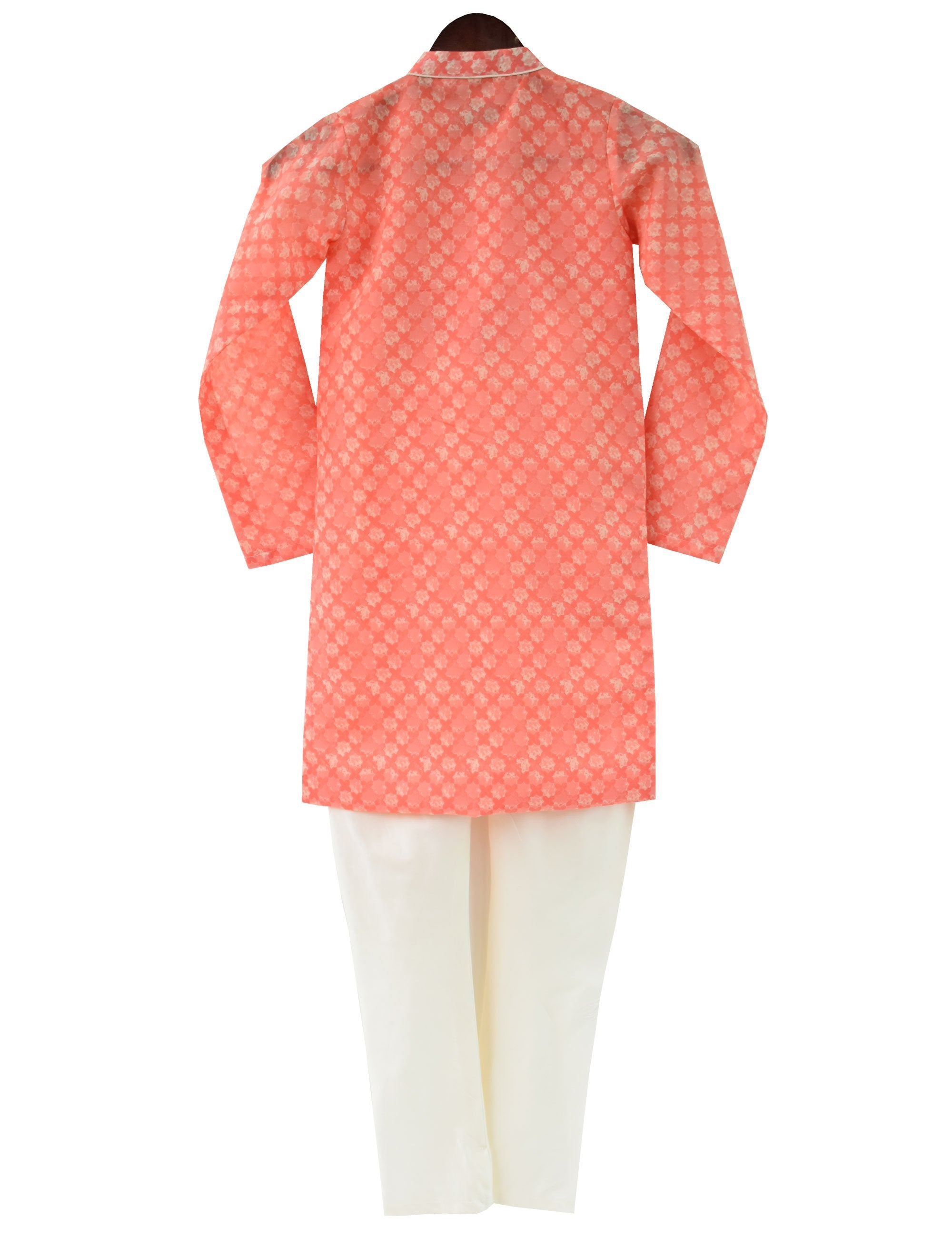 Printed Kurta with Churidaar in Peach Colour for Boys