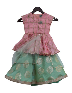 Pink Peplum Choli with Lehenga for Girls