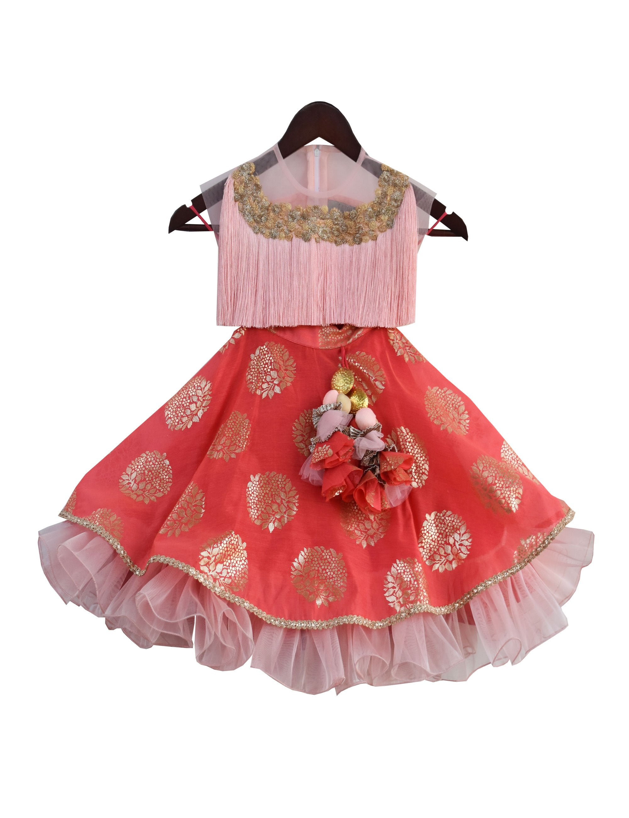 Tassel Lehenga in Pink and Peach Colour for Girls