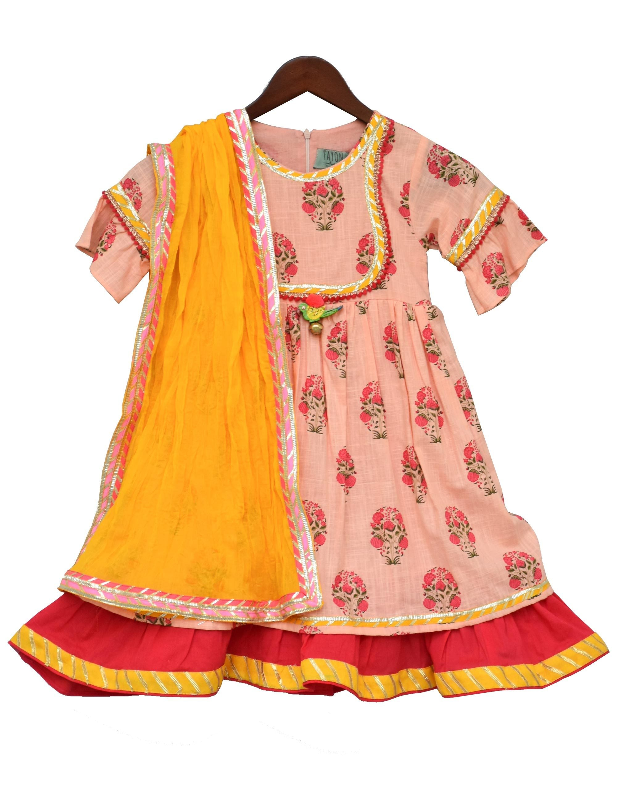 Peach Flower Print Anarkali with Yellow Dupatta