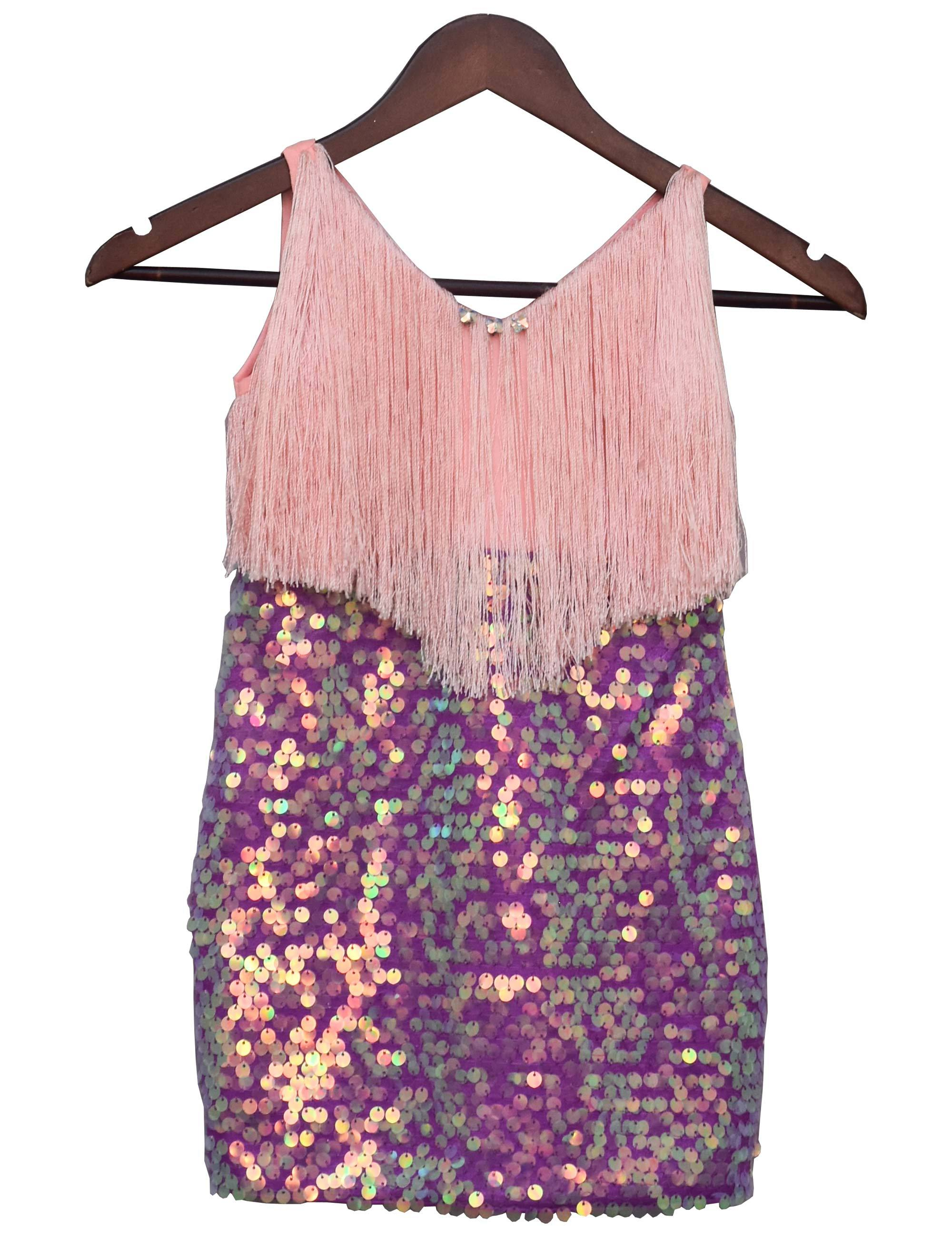 Peach and Purple Shimmer Partywear Dress