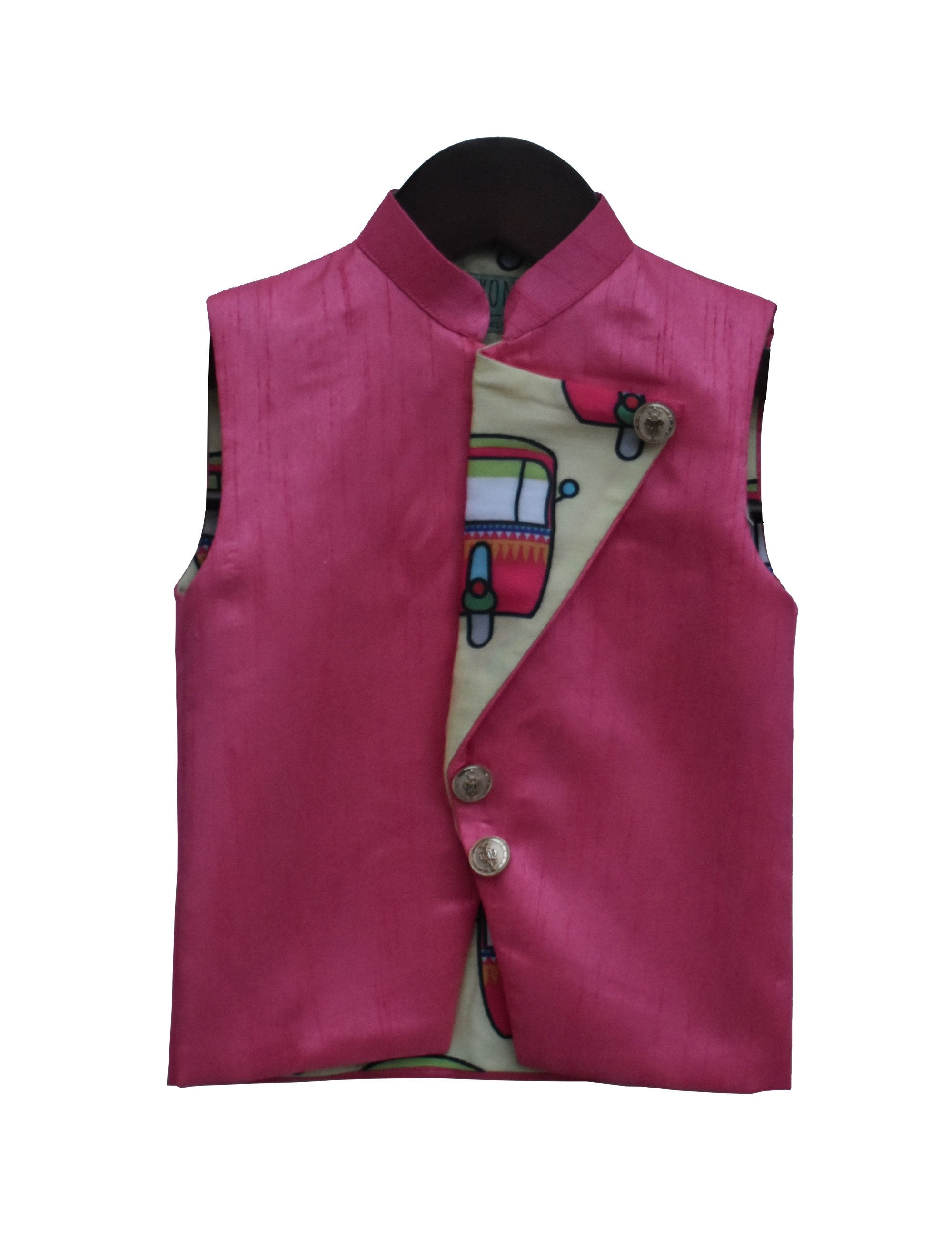 Nehru Jacket with Printed Flip Over in Pink Colour for Boys
