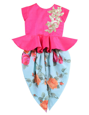 Peplum Choli with Printed Dhoti in Blue & Pink Colour for Girls