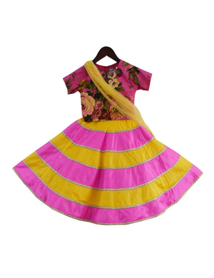 Cotton Printed Choli with Poly Silk Lehenga in Pink & Yellow Colour for Girls