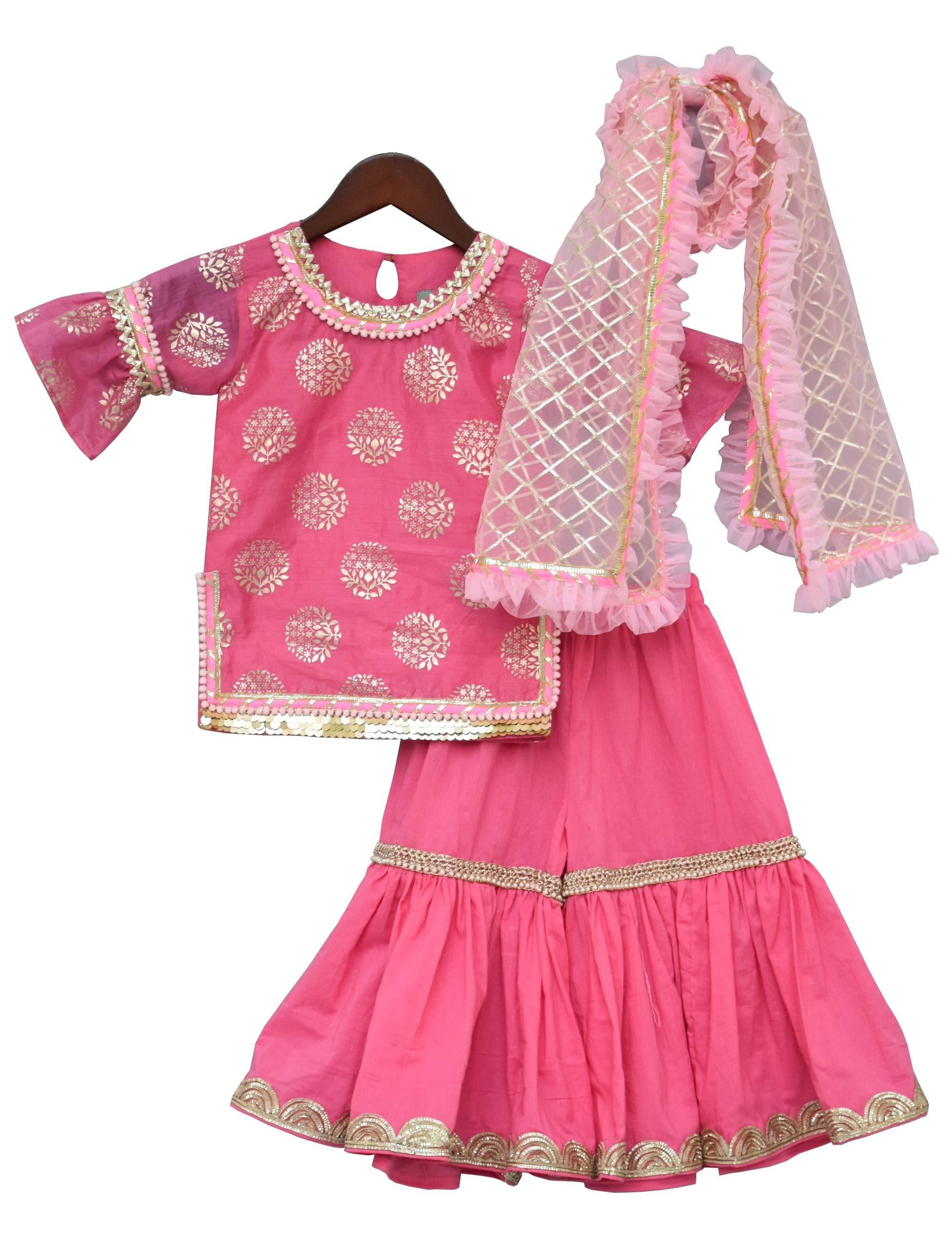 Pink Foil Print Kurti with Sharara