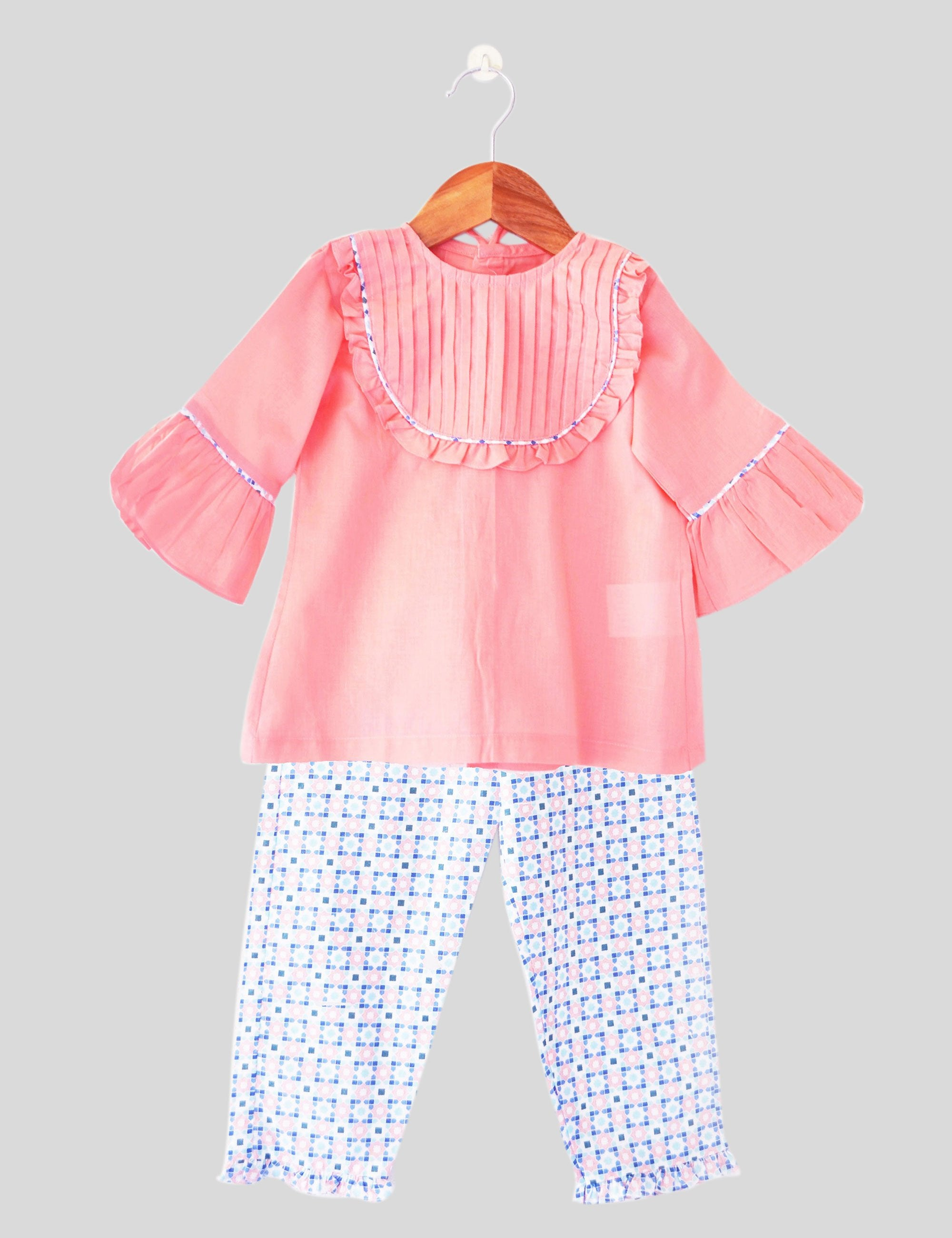 Pink Maze Pajama Set in Pink Colour for Girls