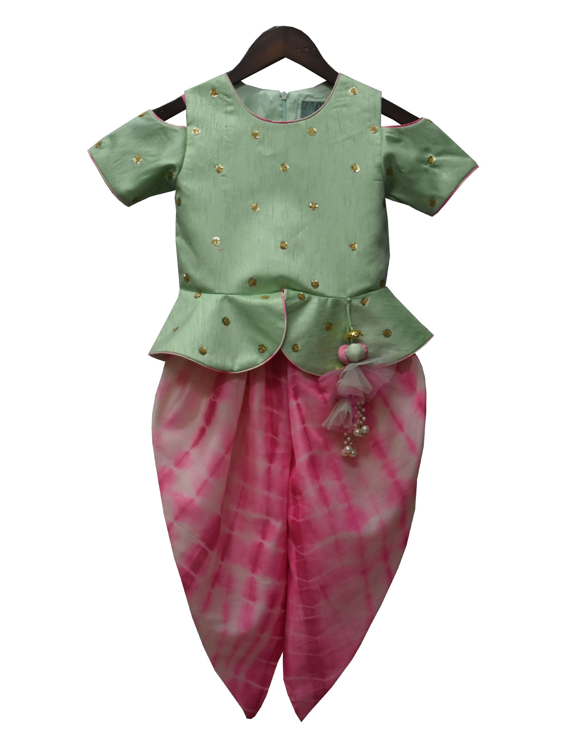 Peplum Choli with Tie and Die Dhoti in Green and Pink Colour for Girls