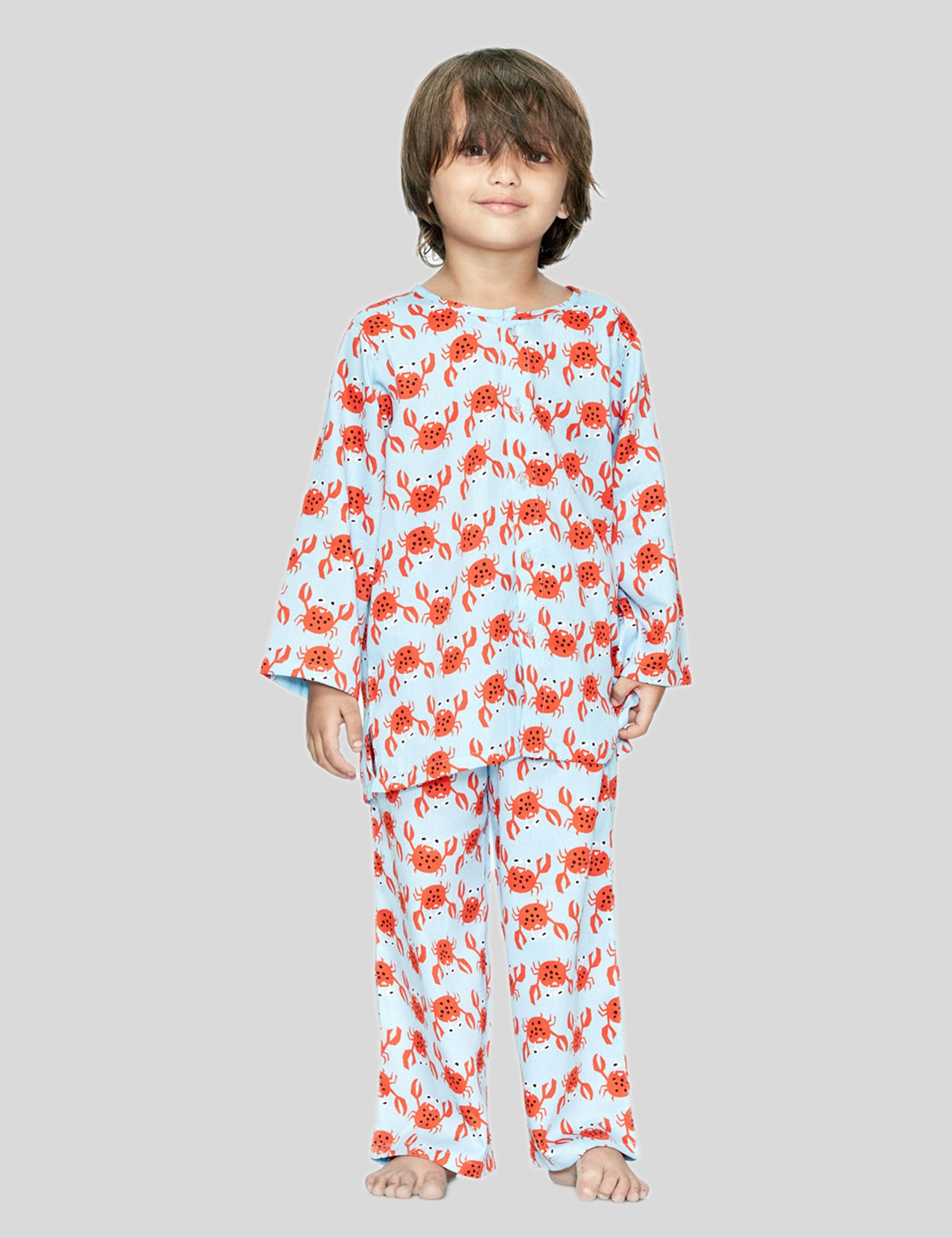Crab Cotton Night Suit in Light Blue for Boys