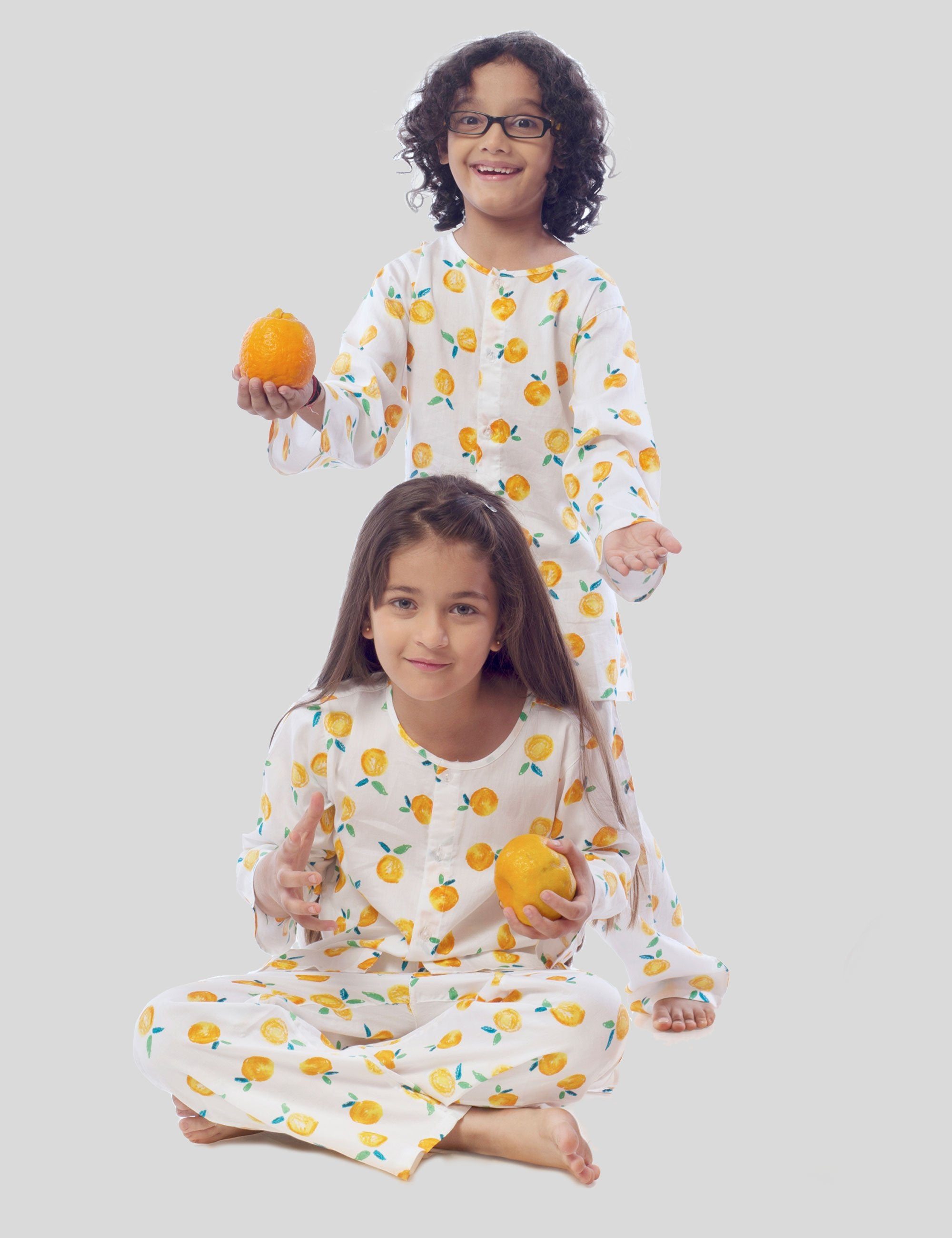 Tangerine Cotton Night Suit in White with Tangerine Print for Boys and Girls