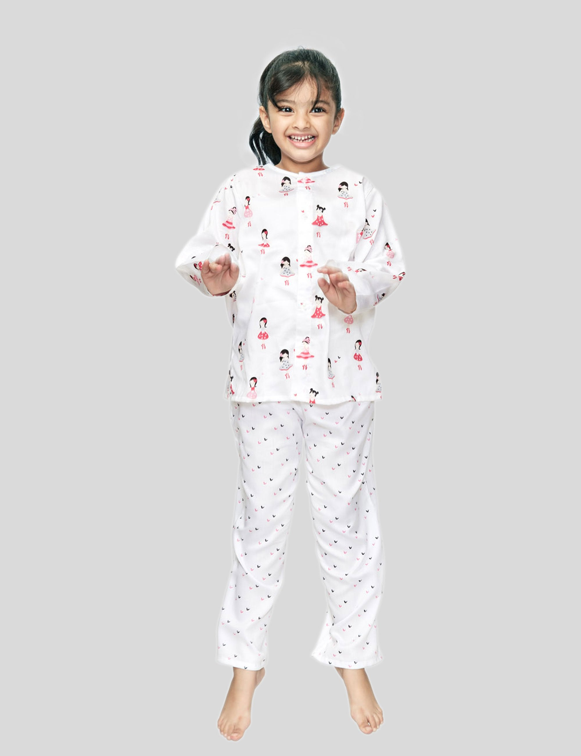Ballerina Cotton Night Suit in White for Girls