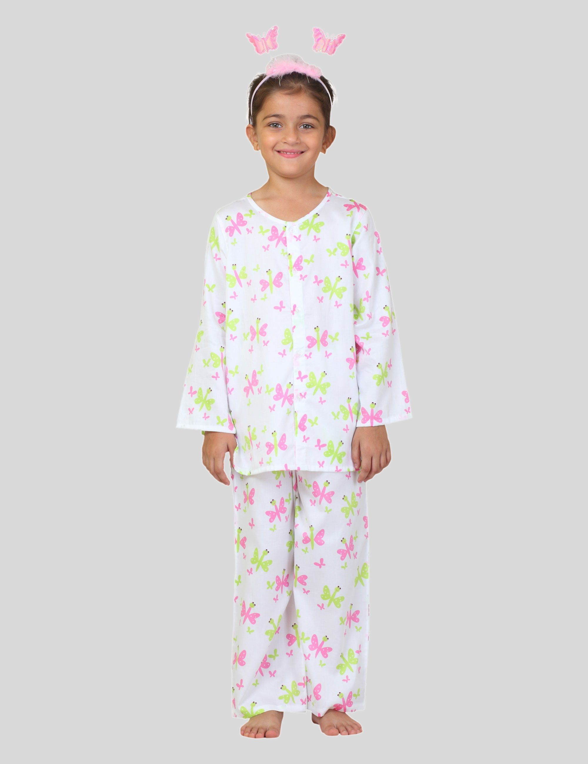 Butterfly Cotton Night Suit in White for Girls