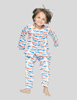 Dolphin Printed Cotton Night Suit in White for Boys & Girls