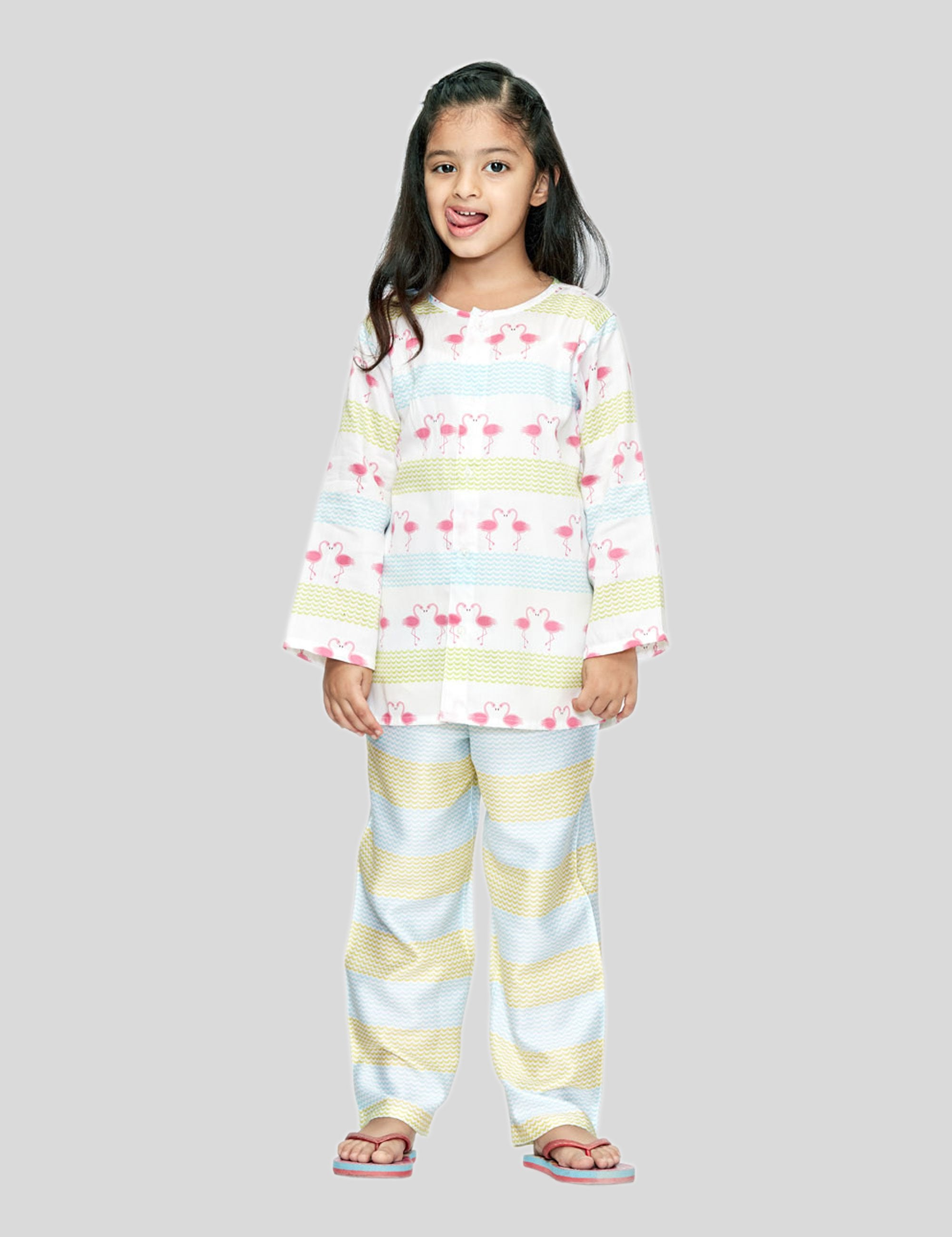Flamingo Cotton Night Suit in White for Girls