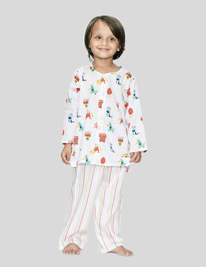 Monster Printed Cotton Night Suit in White for Boys