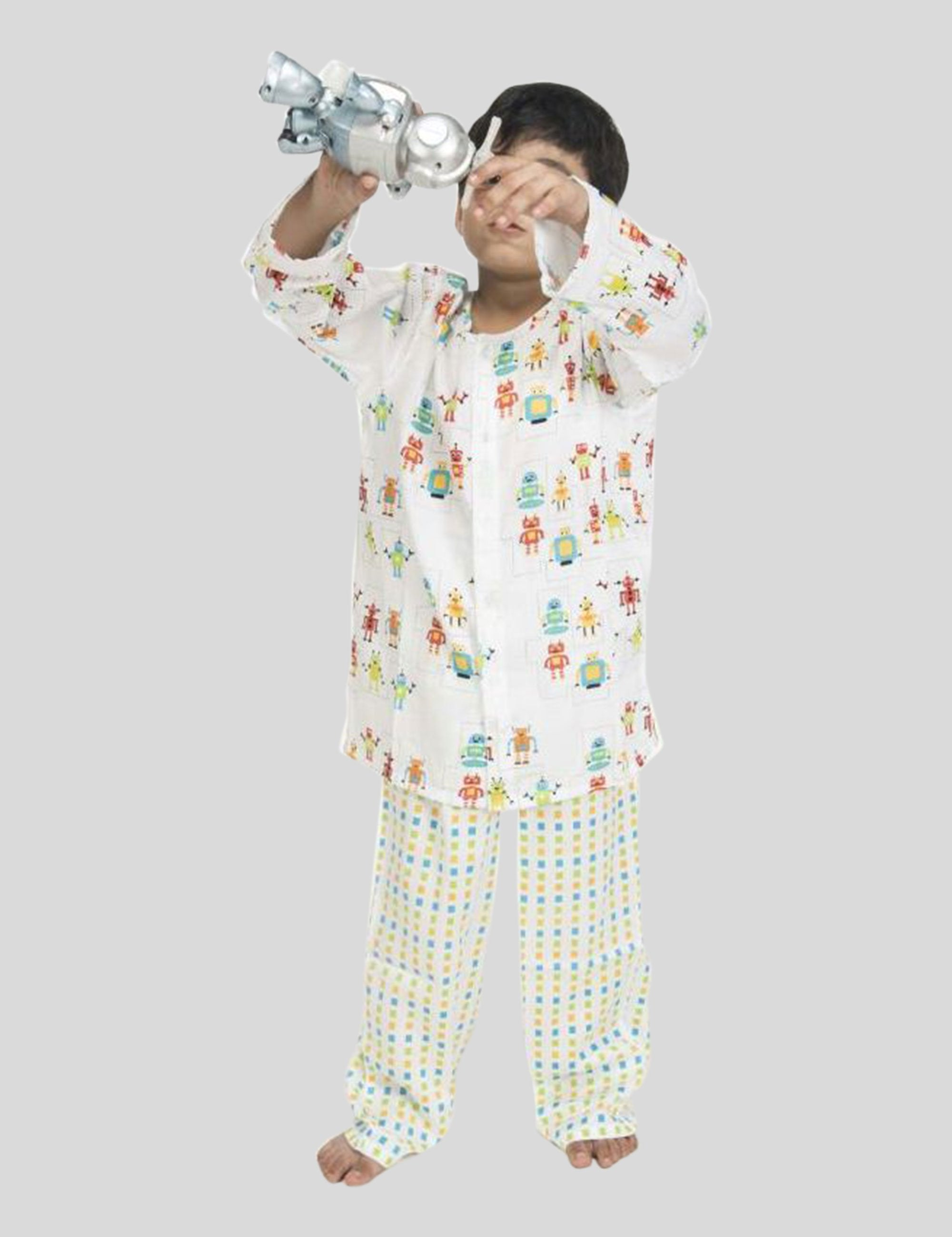 Printed Robot Cotton Night Suit in White for Boys