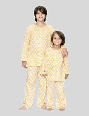 Star Cotton Night Suit in Yellow and White Boys & Girls